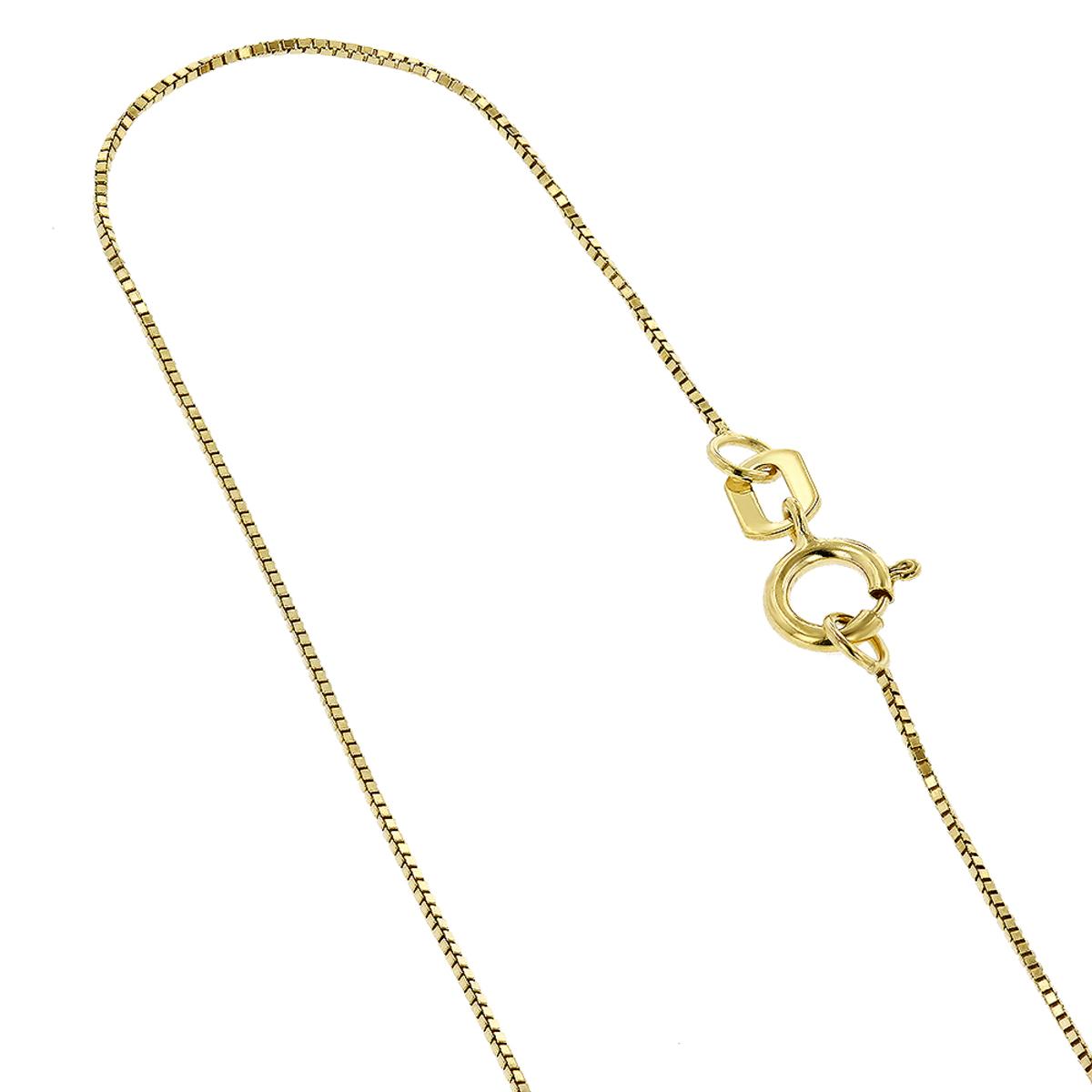 LUXURMAN Solid 10k Gold Box Chain For Women 0.6mm Wide