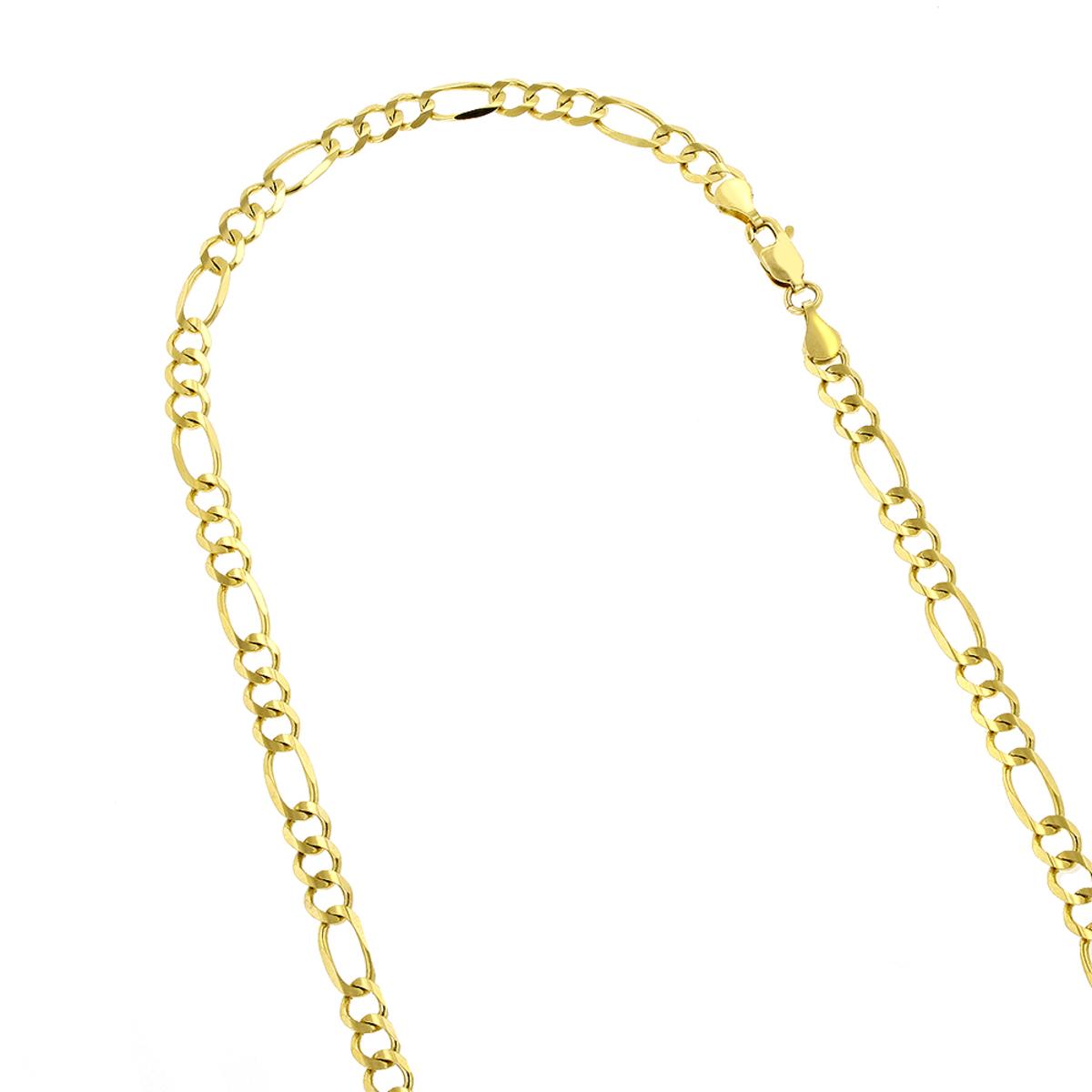 LUXURMAN Solid 10k Gold Figaro Chain For Men & Women 5mm Wide