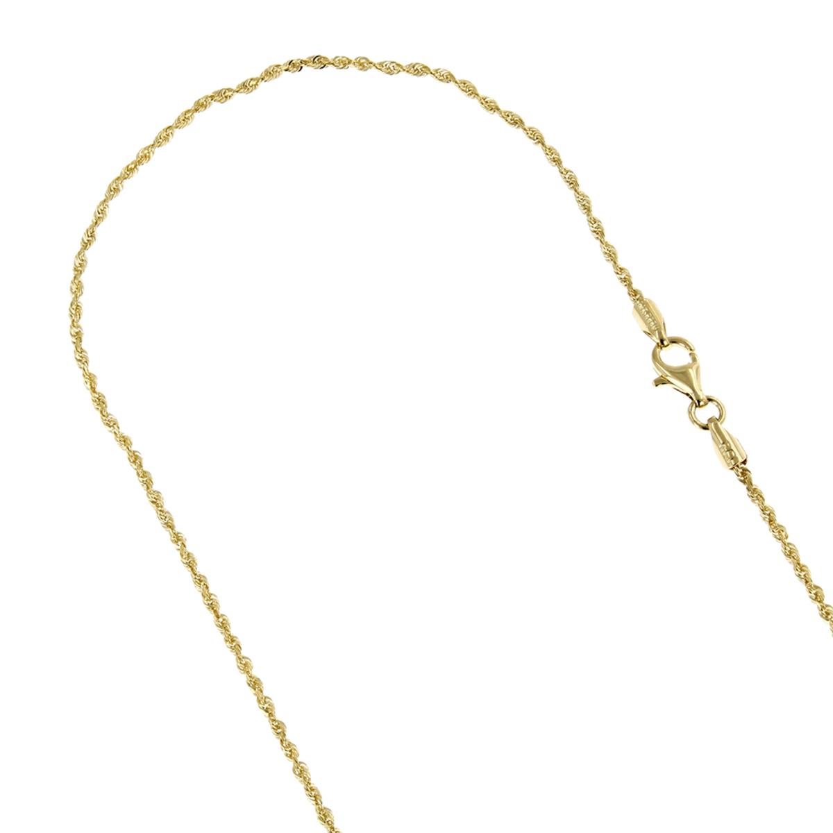 LUXURMAN Solid 10k Gold Rope Chain For Men & Women Diamond Cut 1.5mm
