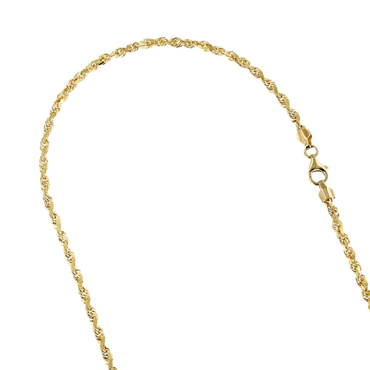 LUXURMAN Solid 10k Gold Rope Chain For Men & Women Diamond Cut 3mm
