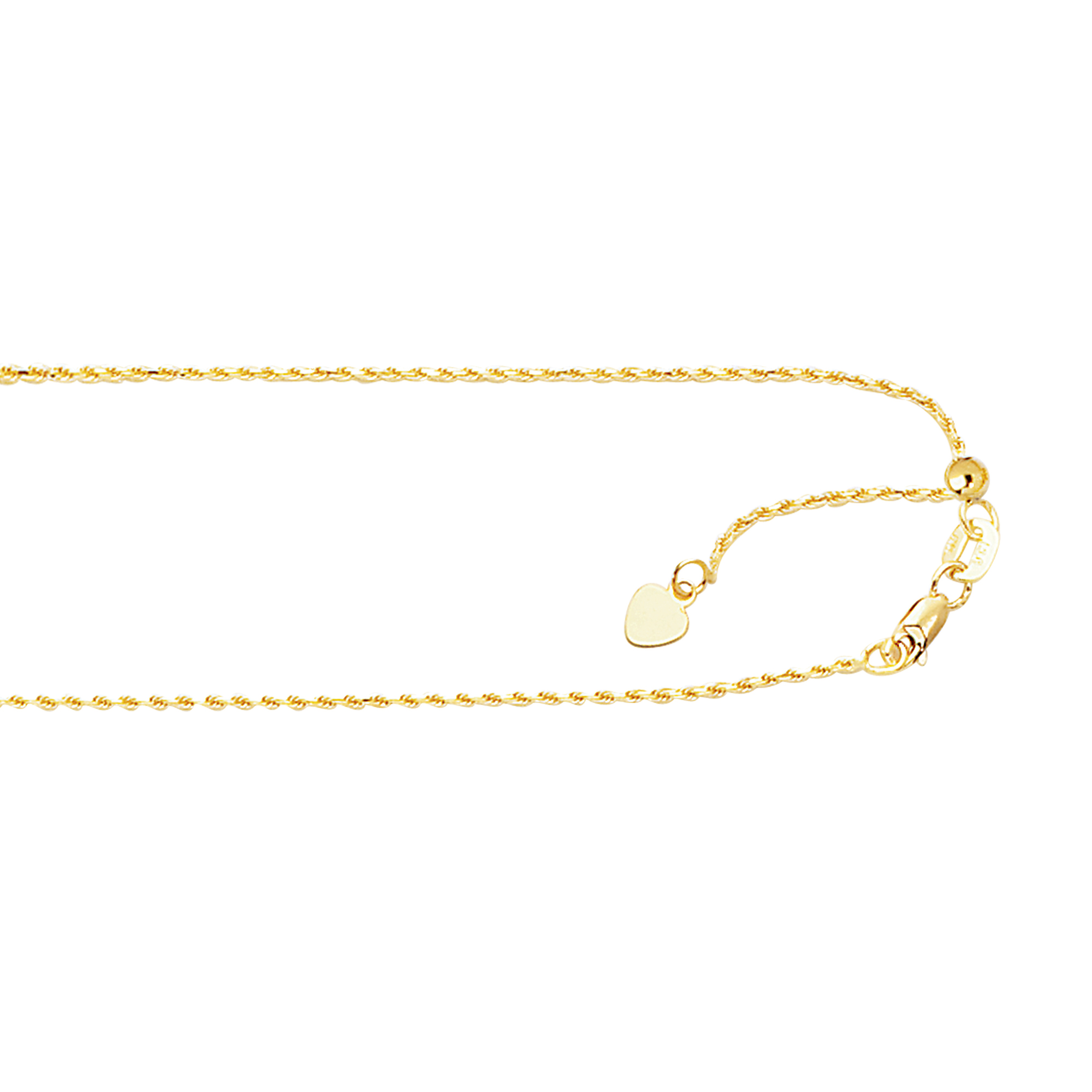 LUXURMAN Solid 10k Gold Rope Chain For Women Adjustable 1mm Wide