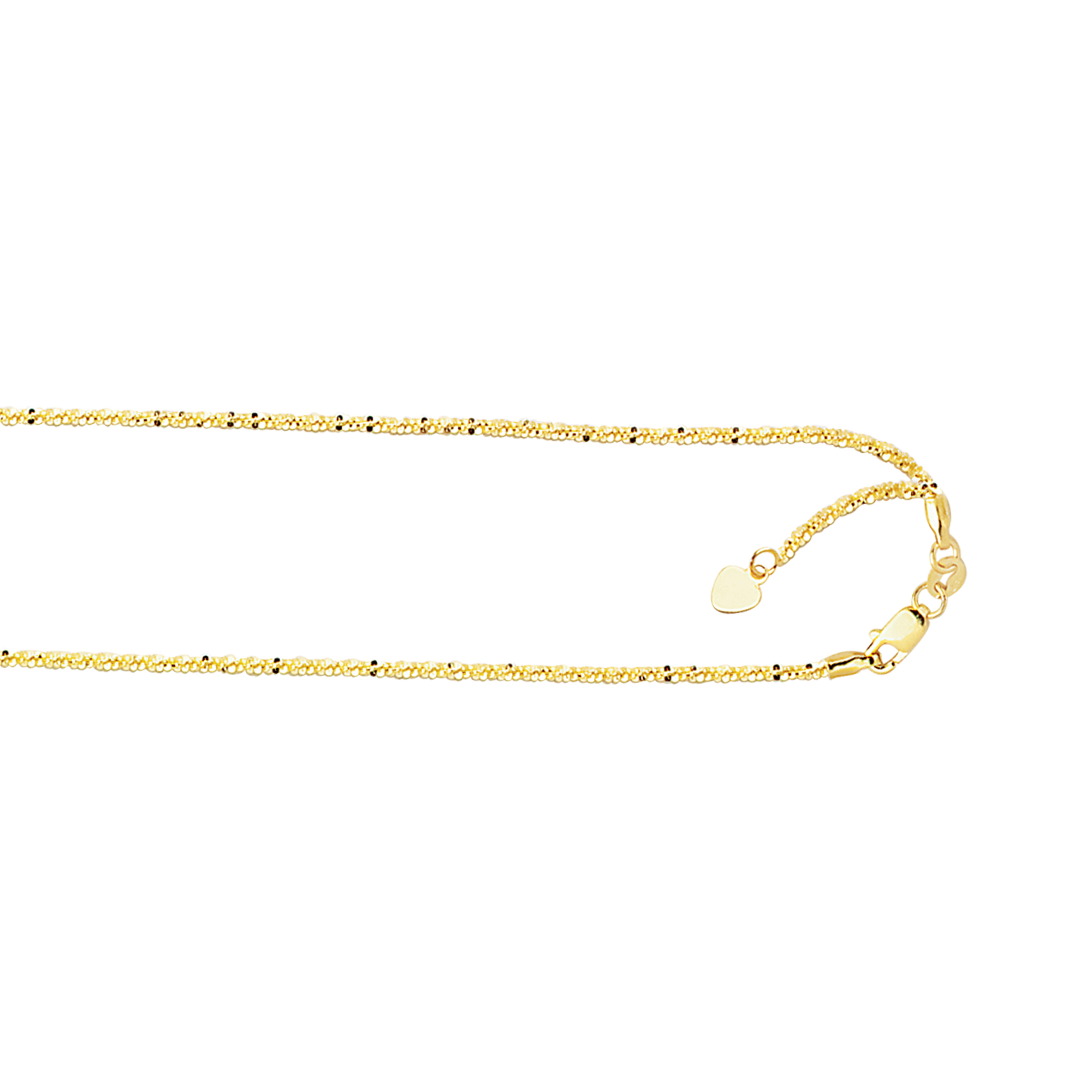 LUXURMAN Solid 10k Gold Sparkle Chain For Women Adjustable 1.5mm