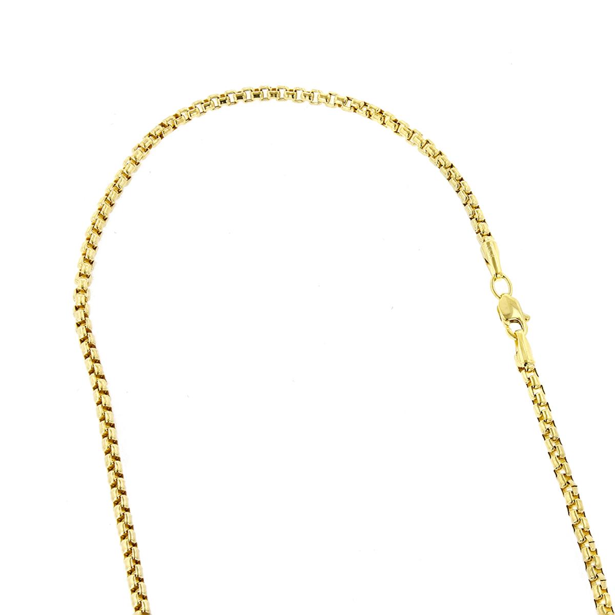 LUXURMAN Solid 14k Gold Box Chain For Men & Women Round 2.4mm Wide