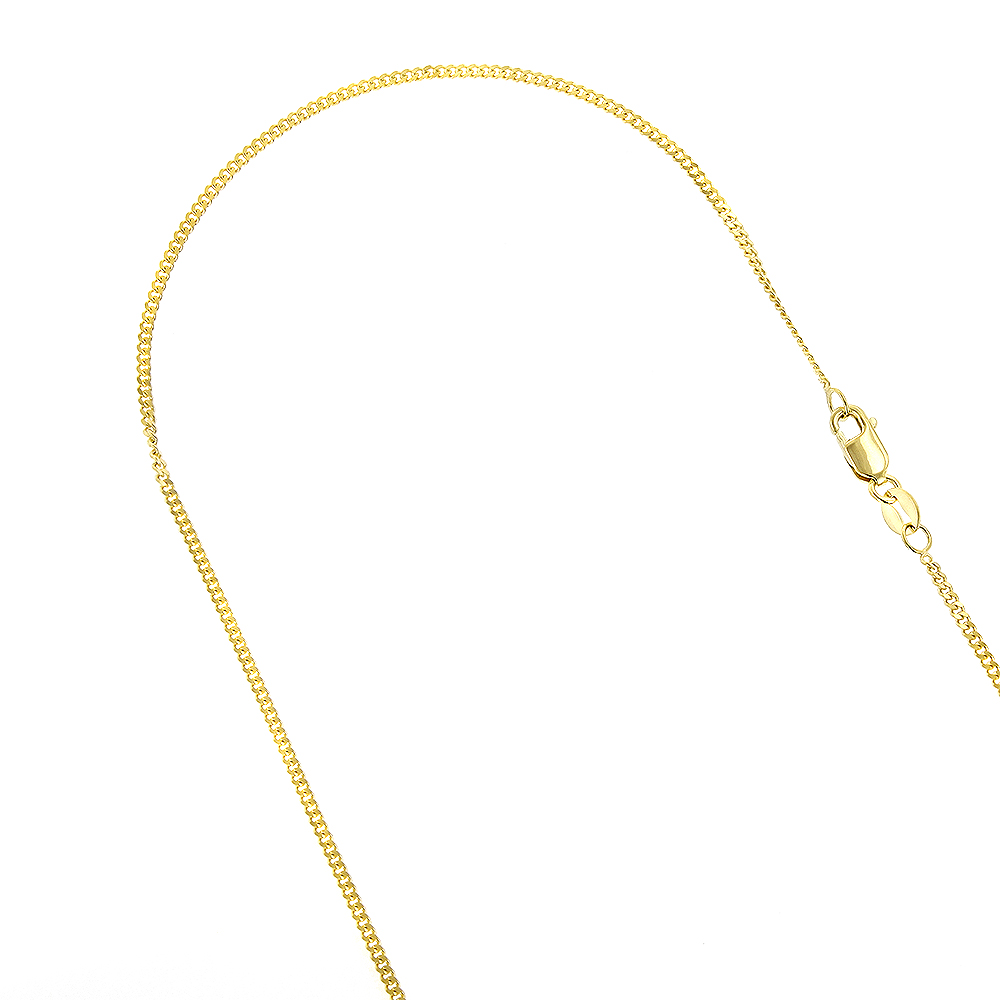LUXURMAN Solid 14k Gold Curb Chain For Men & Women Gourmette 1mm Wide