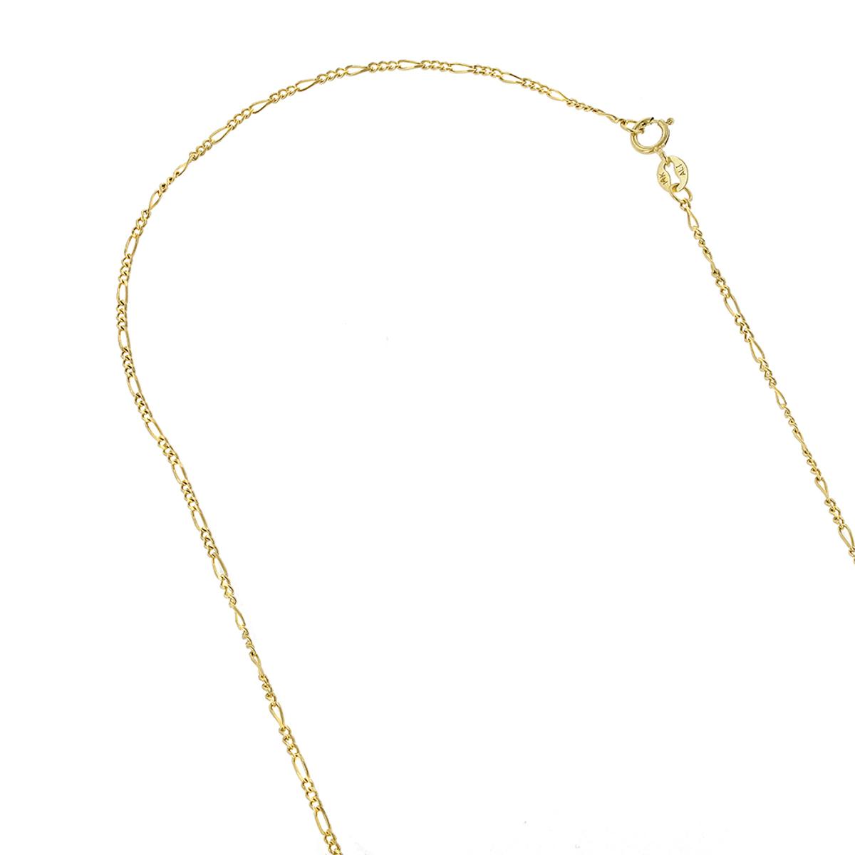 LUXURMAN Solid 14k Gold Figaro Chain For Men & Women 1.9mm Wide