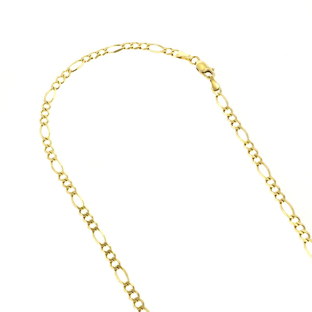 LUXURMAN Solid 14k Gold Figaro Chain For Men & Women 3mm Wide