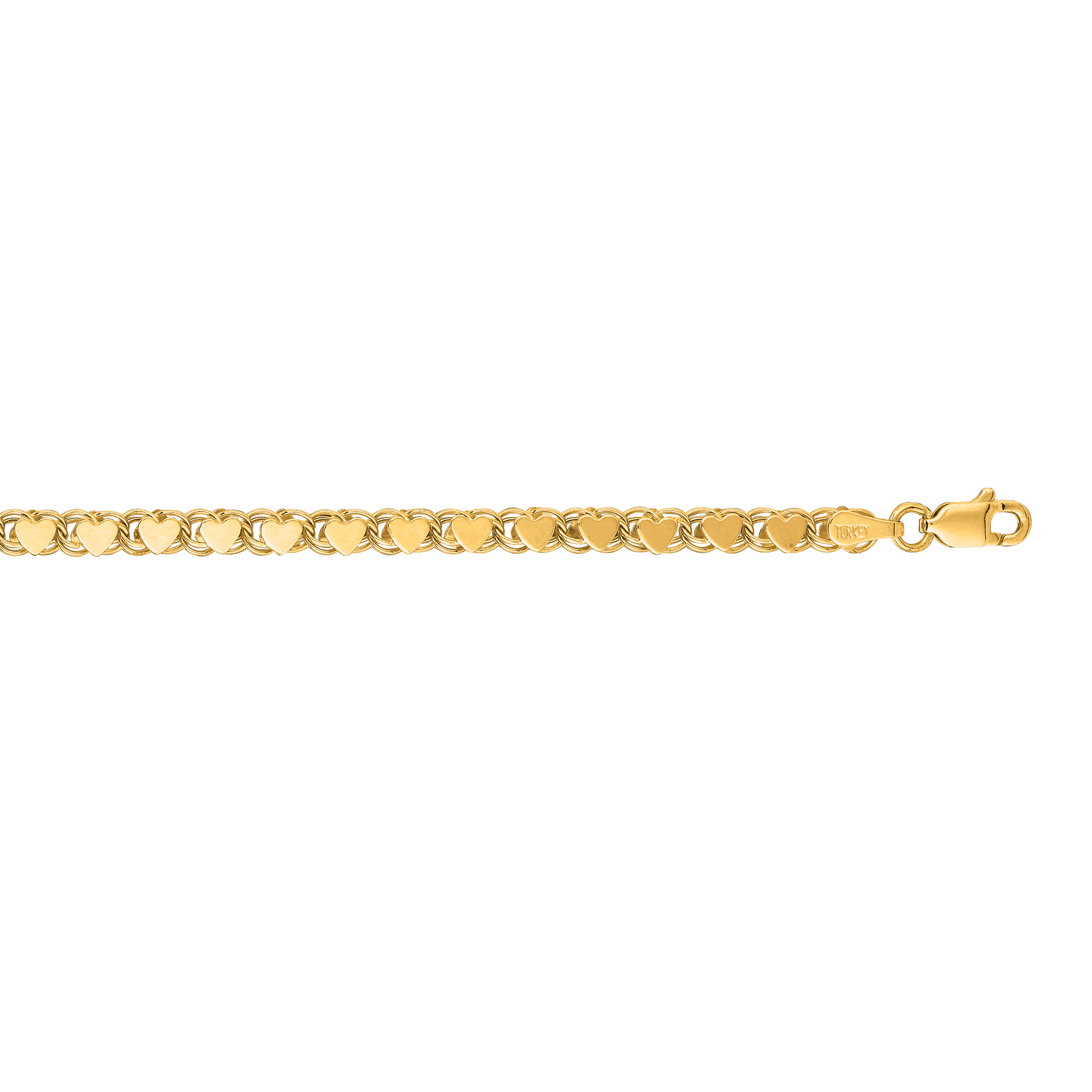 LUXURMAN Solid 14k Gold Heart Chain For Women 3.5mm Wide