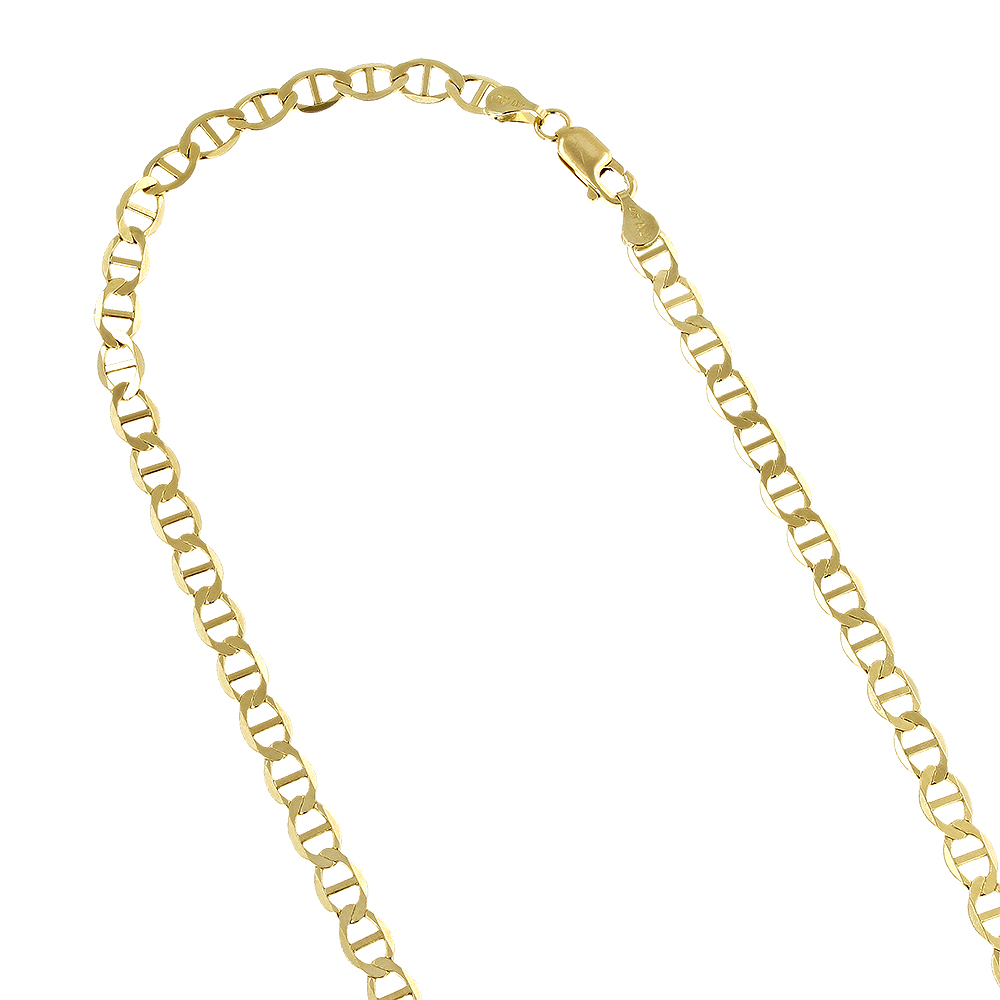 LUXURMAN Solid 14k Gold Mariner Chain For Men & Women 3mm Wide