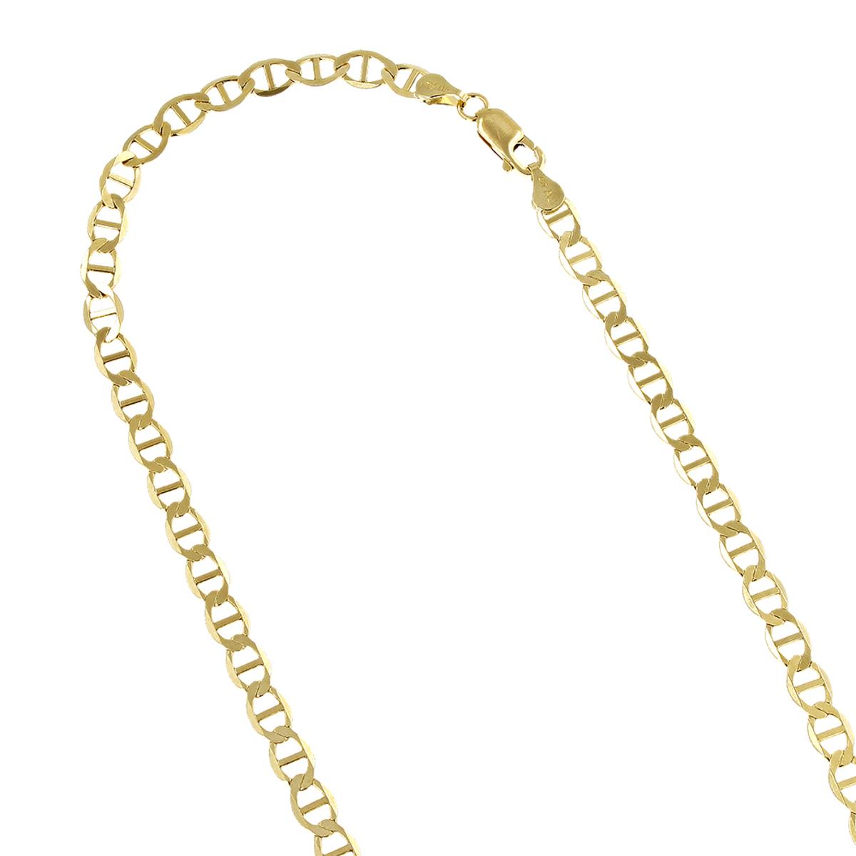 LUXURMAN Solid 14k Gold Mariner Chain For Men & Women 4.5mm Wide