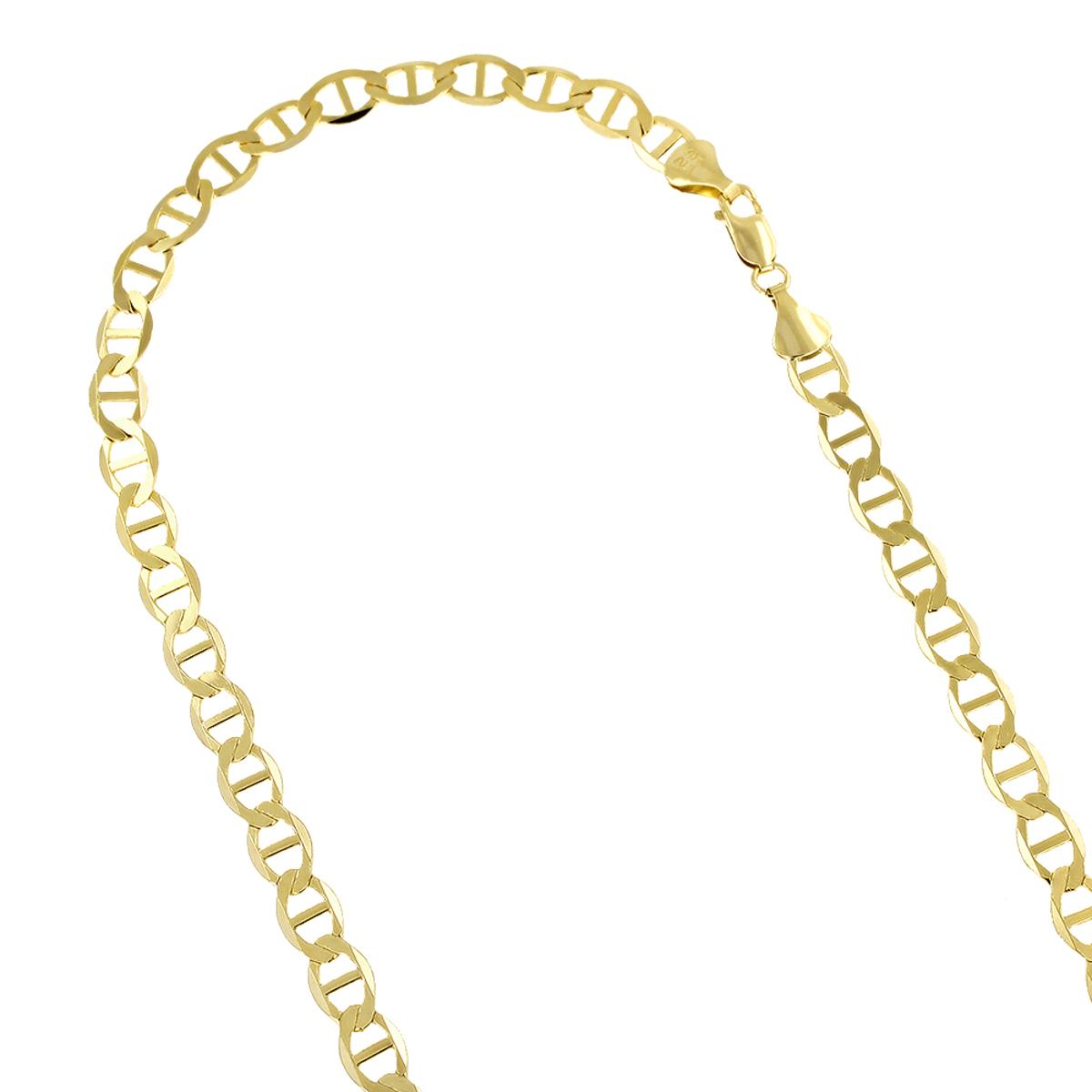 LUXURMAN Solid 14k Gold Mariner Chain For Men & Women 6.5mm Wide