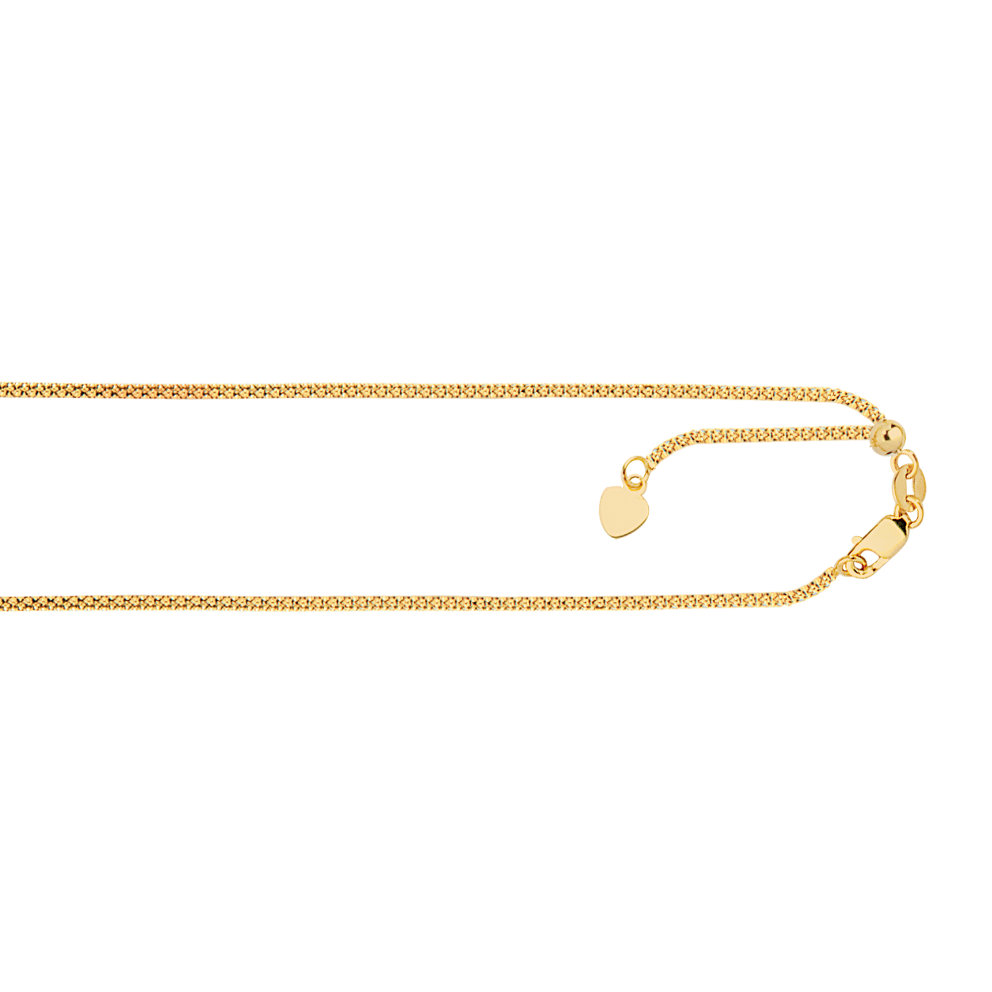 LUXURMAN Solid 14k Gold Popcorn Chain For Men & Women Adjustable 1.3mm