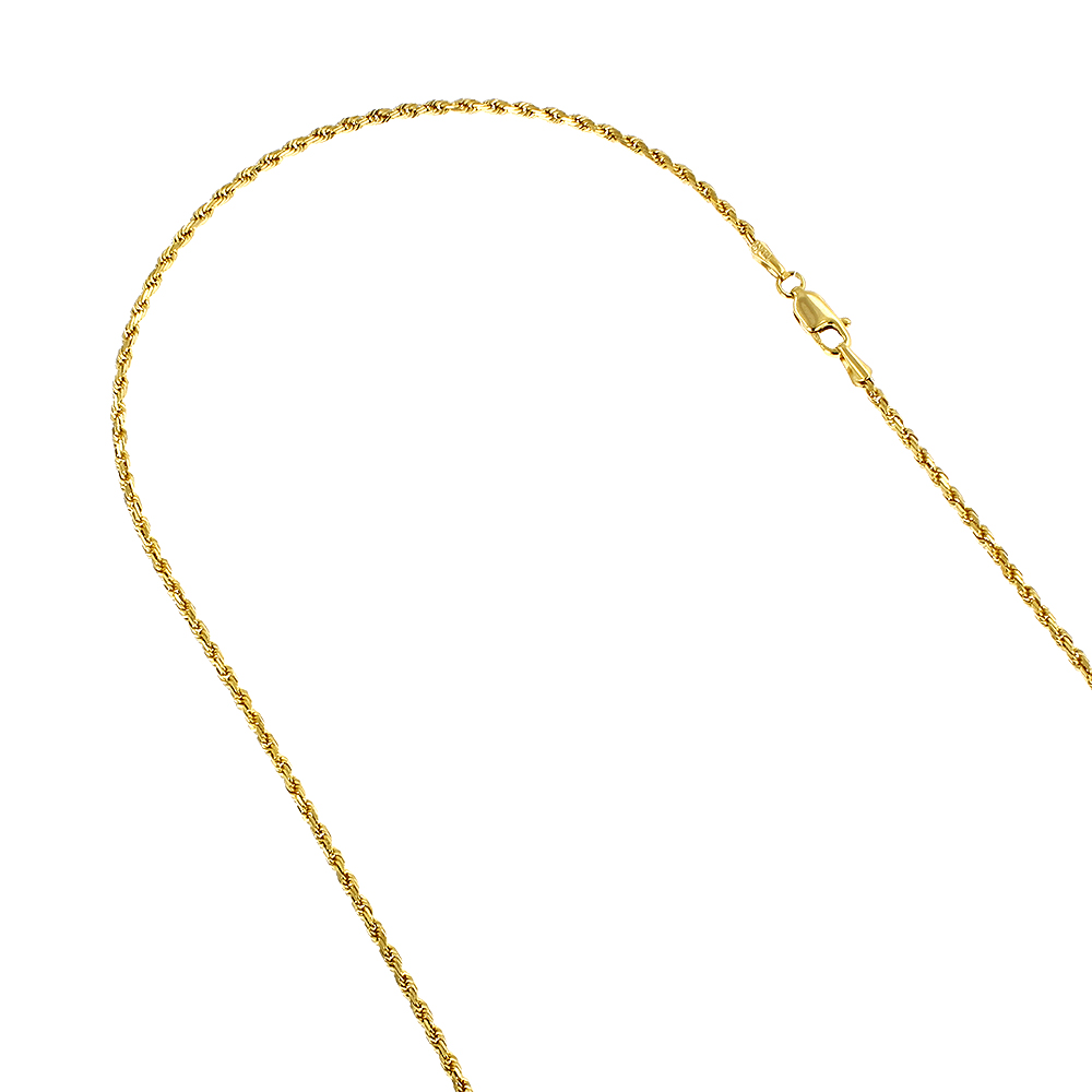 LUXURMAN Solid 14k Gold Rope Chain For Men & Women 2mm Wide