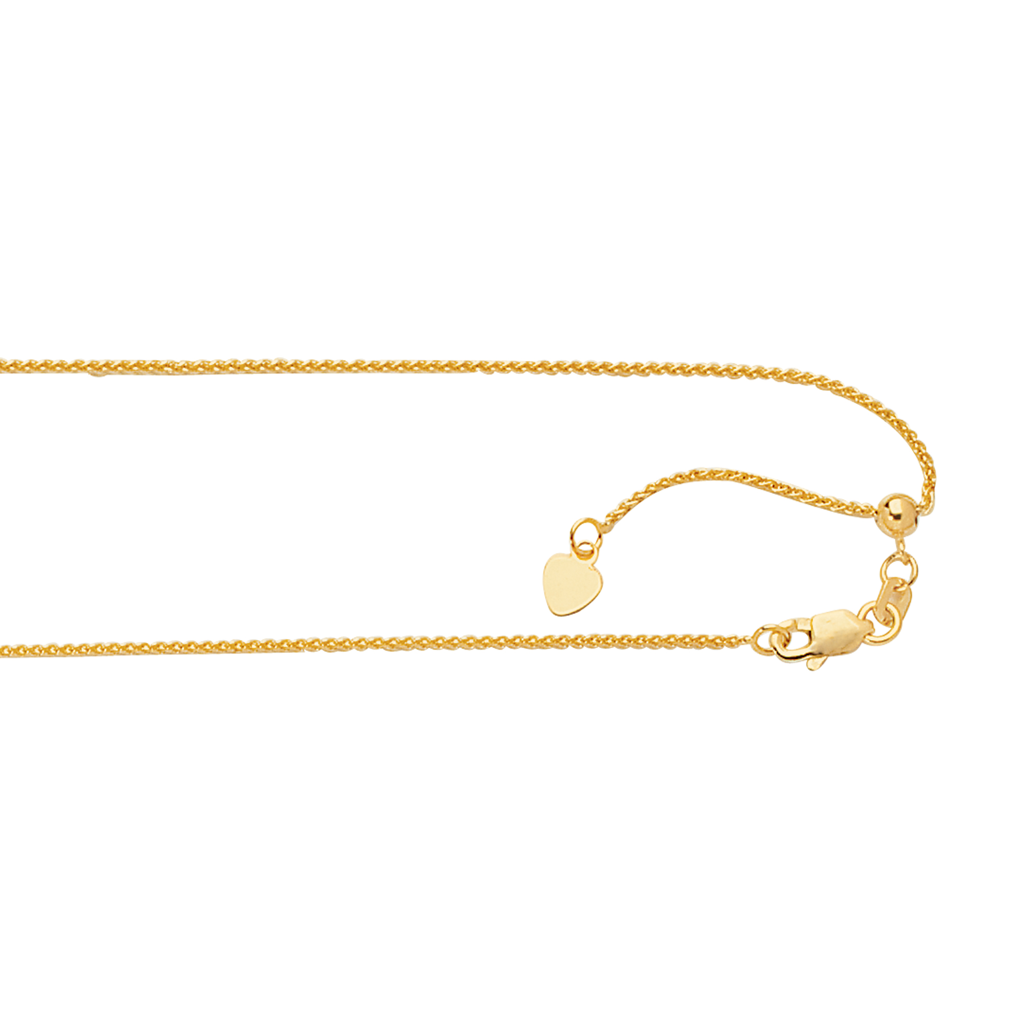 LUXURMAN Solid 14k Gold Round Wheat Chain Adjustable 1mm