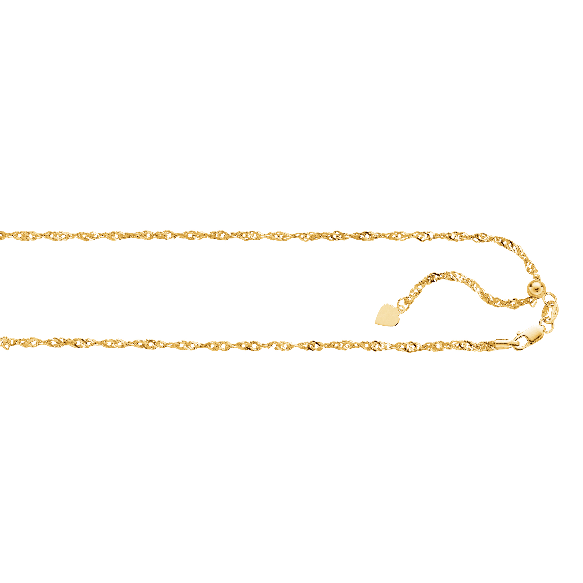 LUXURMAN Solid 14k Gold Singapore Chain For Men & Women 1.1mm Wide