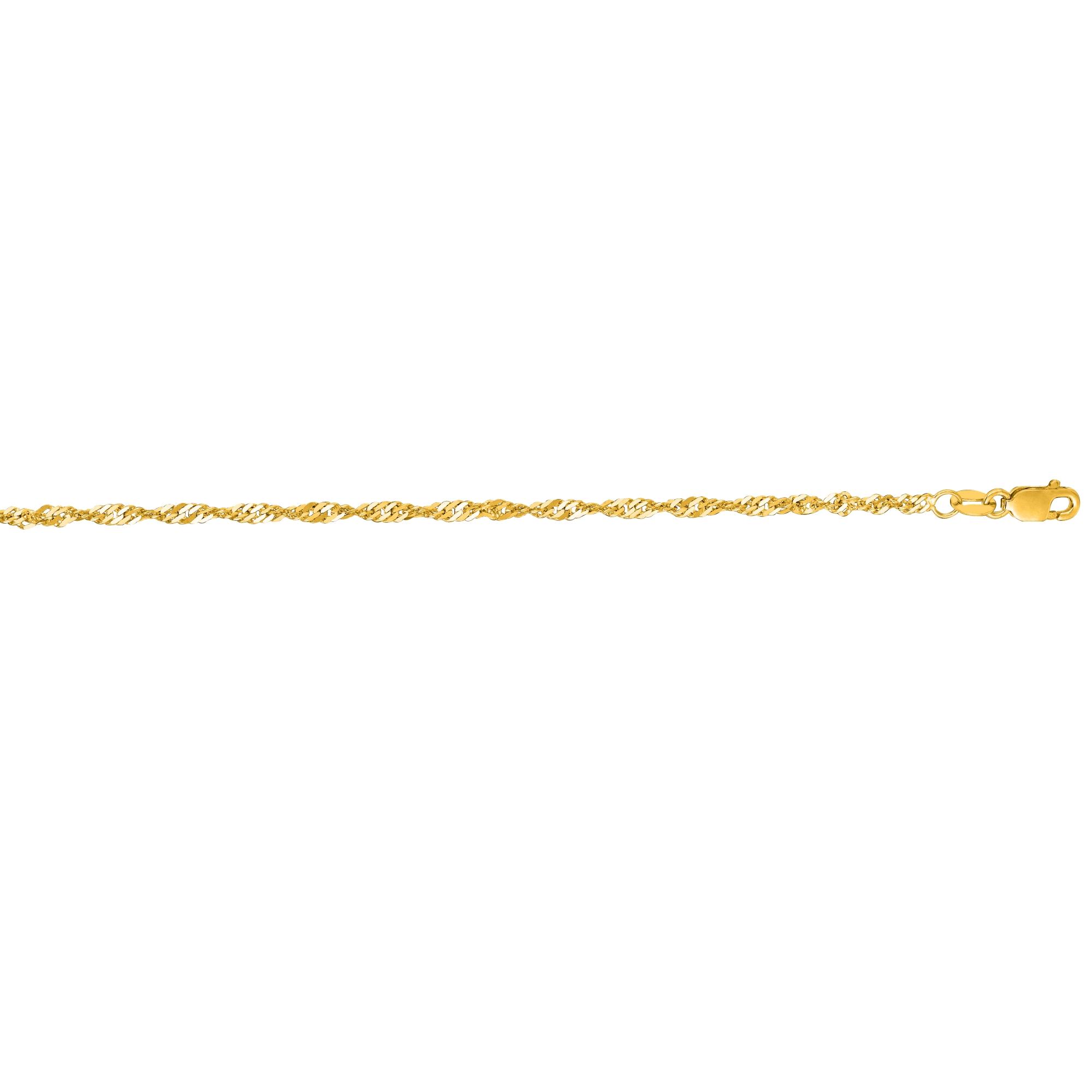 LUXURMAN Solid 14k Gold Singapore Chain For Men & Women 1.7mm Wide