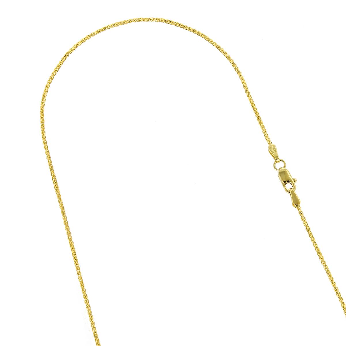 LUXURMAN Solid 14k Gold Wheat Chain For Men & Women 1.5mm Wide