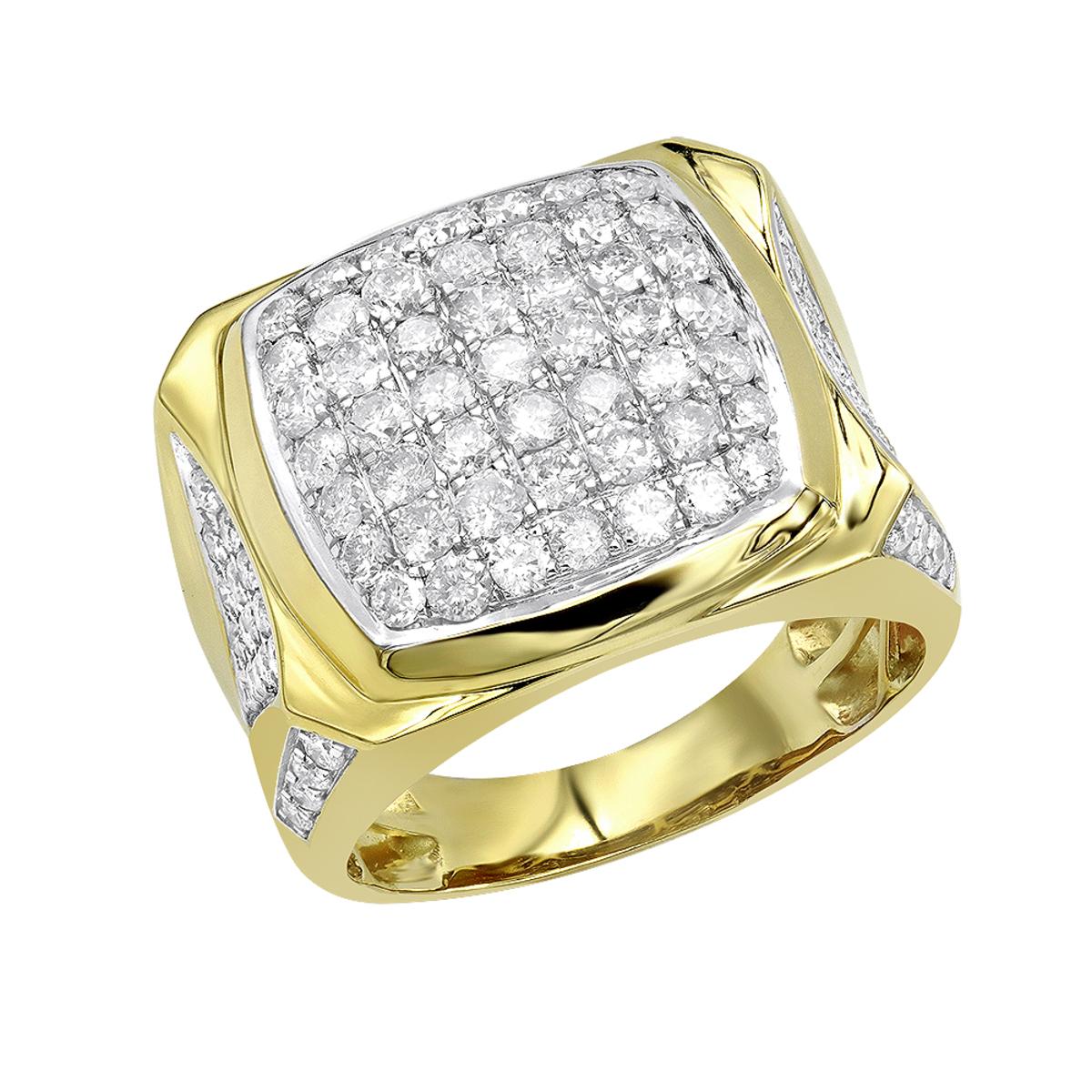 LUXURMAN Statement Jewelry: 10k Gold Mens Diamond Ring 3 Carat Pinky Ring