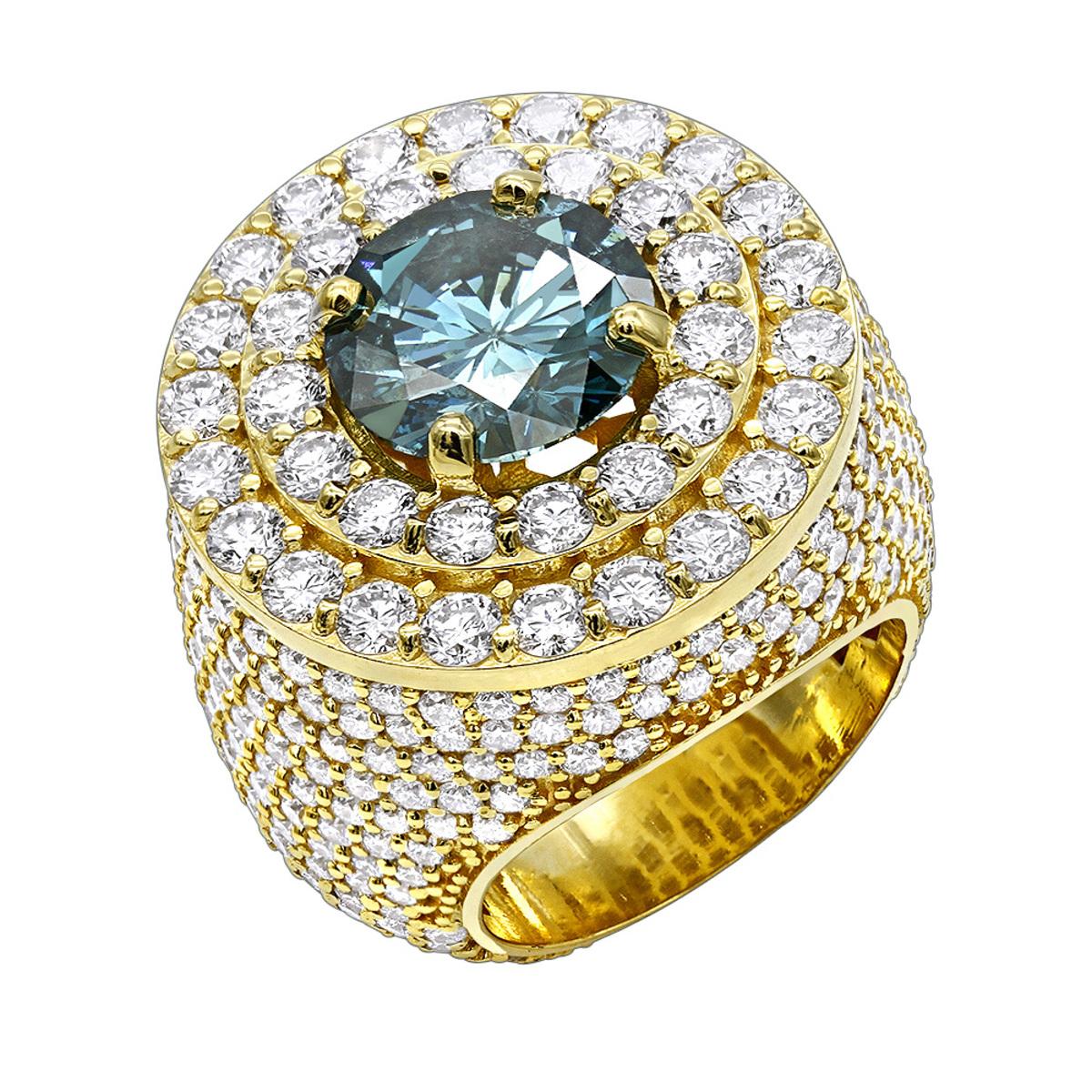 Luxurman Statement Jewelry 14K Gold Unique White Blue Diamond Mens Ring 11c