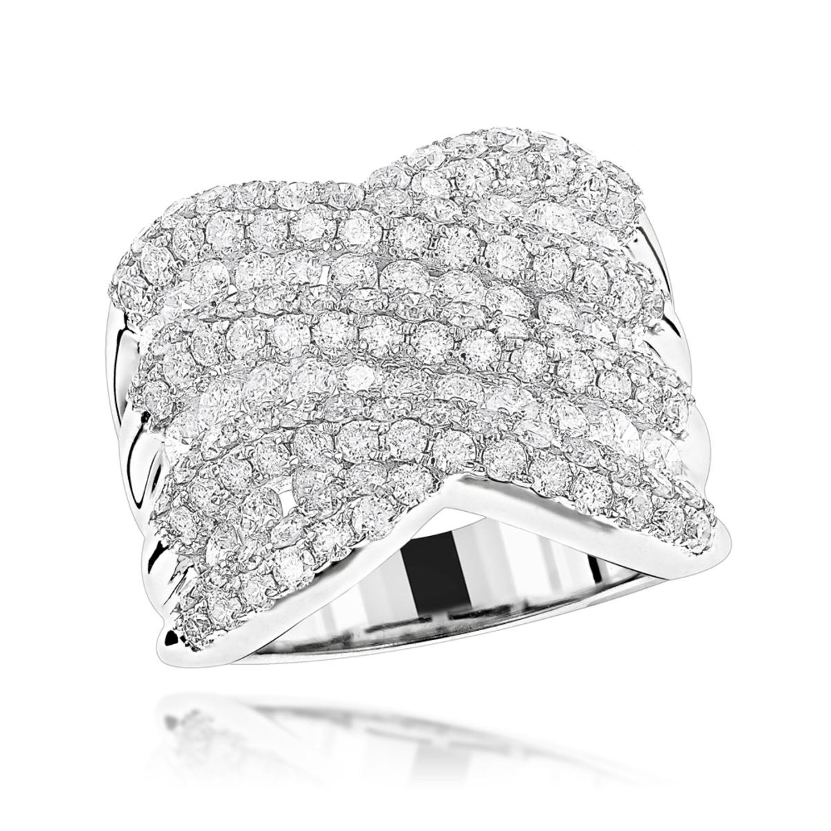 Luxurman Statement Jewelry Platinum Ladies Diamond Cocktail Ring 4ct G/VS