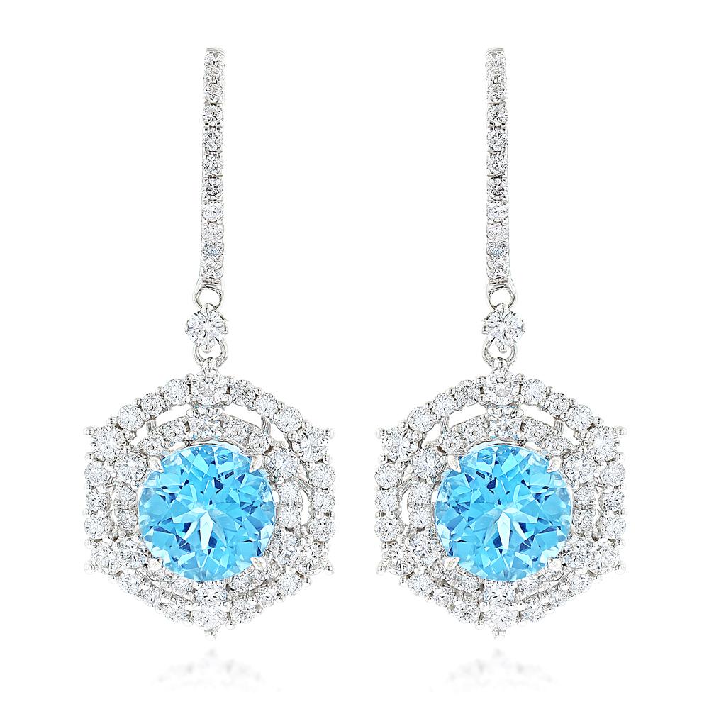 Luxurman Unique Blue Topaz Diamond Drop Earrings for Women in 14k Gold