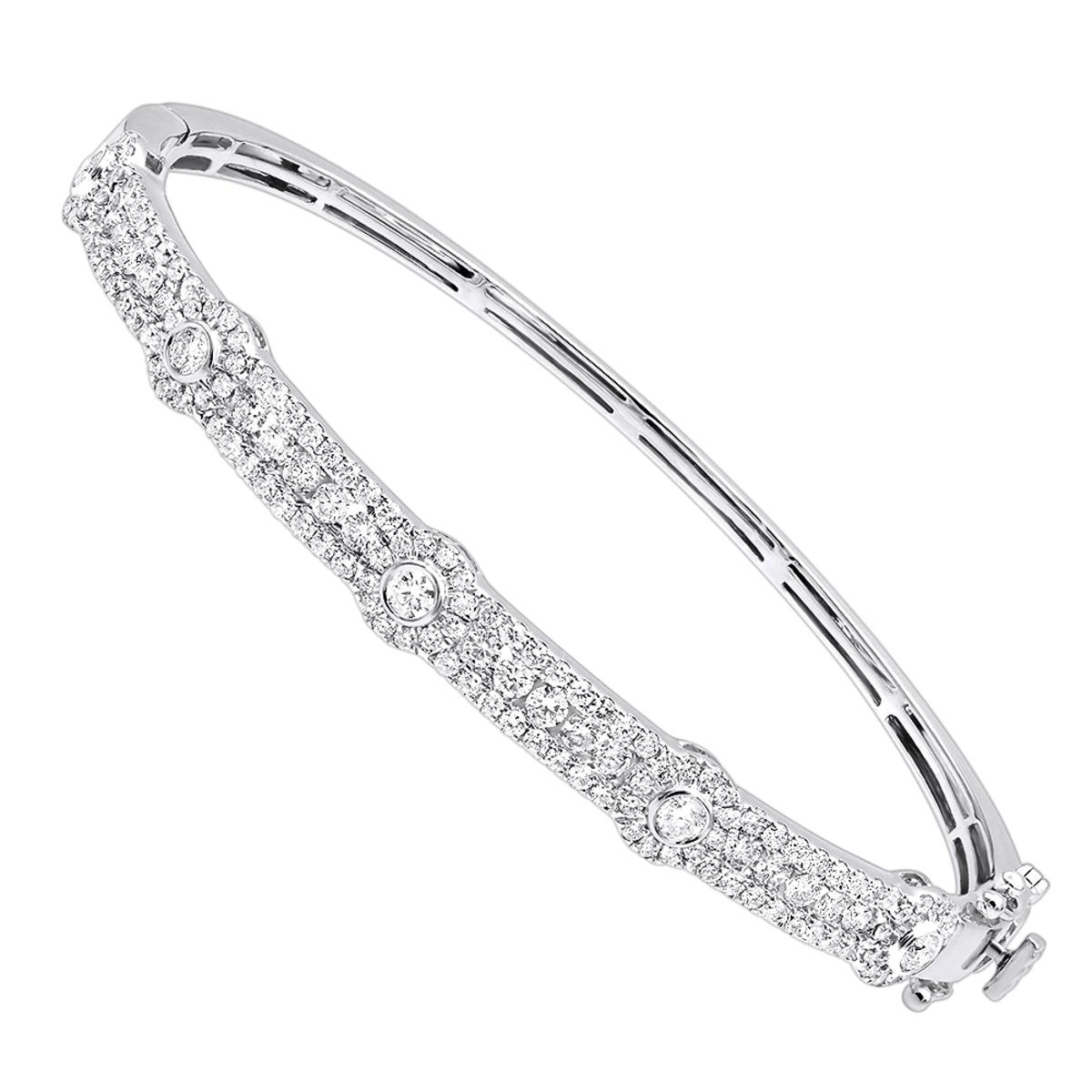 Luxurman Unique Stackable Diamond Bangle Bracelet for Women in 14k Gold 2ct
