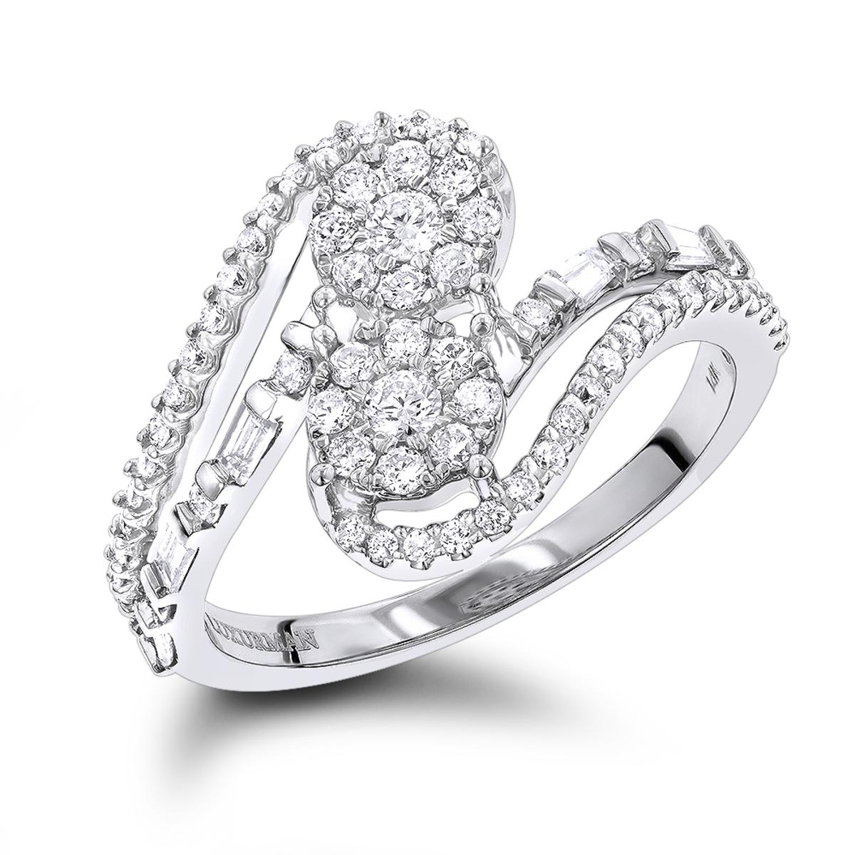 LUXURMAN Unique Womens Diamond Rings: 14K Gold 2 Cluster Diamond Ring 0.8ct