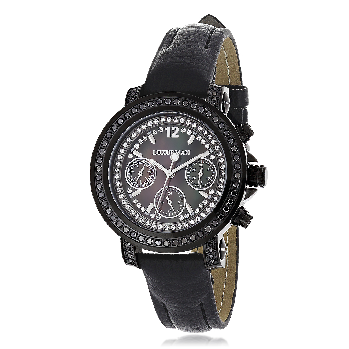 Luxurman Watches: Black Diamond Watch for Women 2.15 carats