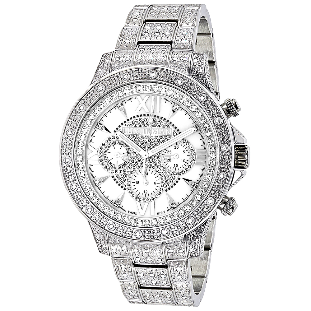 Luxurman Watches: Iced Out Mens Diamond Watch 1.25ct
