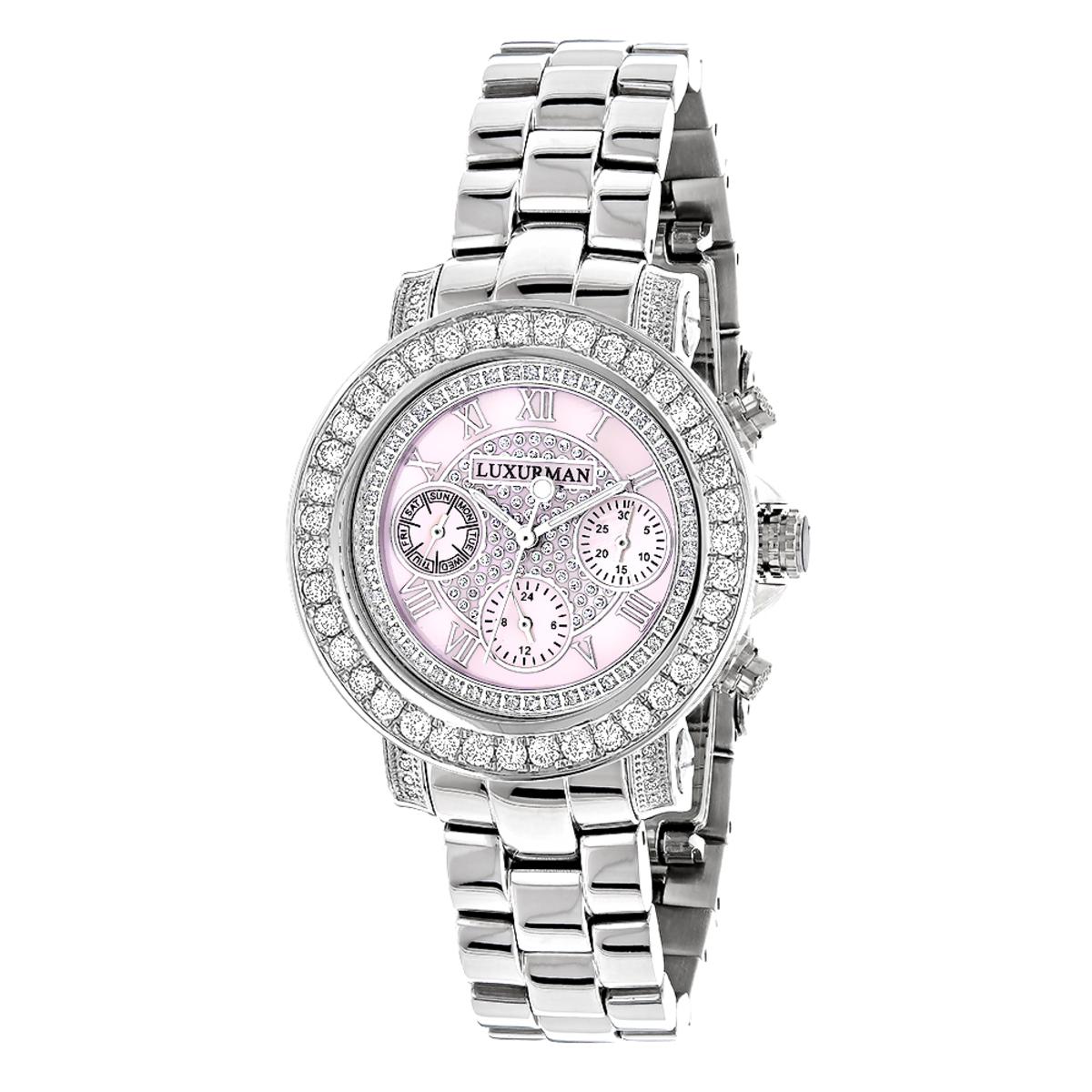 Luxurman Watches: Ladies Diamond Watch 3ct Pink