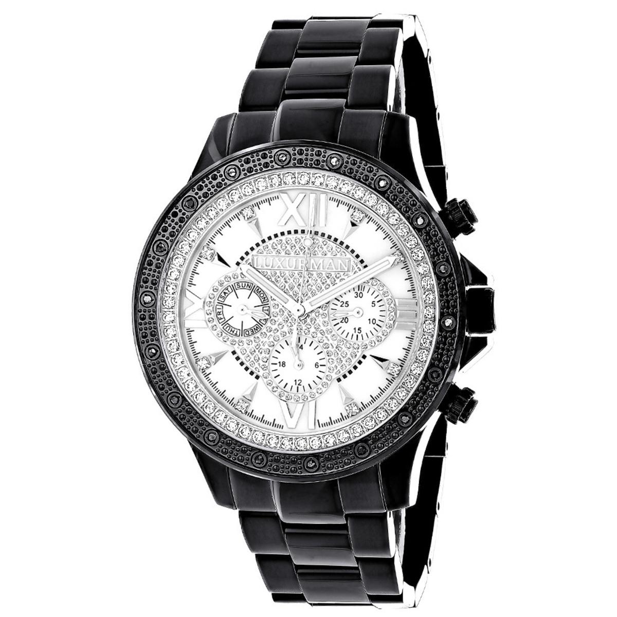 Luxurman Watches: Liberty Mens Real Diamond Watch 0.2ct Black