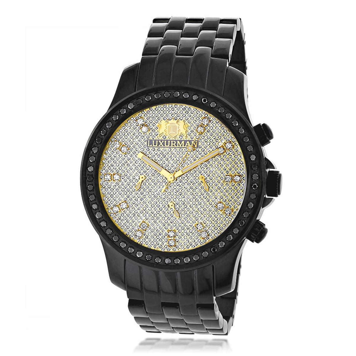 Luxurman Watches Mens Black Diamond Watch 2.25ct