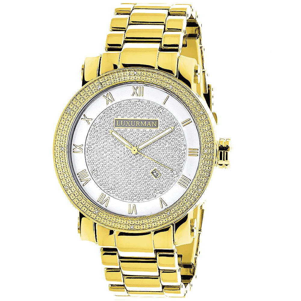Luxurman Watches: Mens Diamond Watch 0.12ct