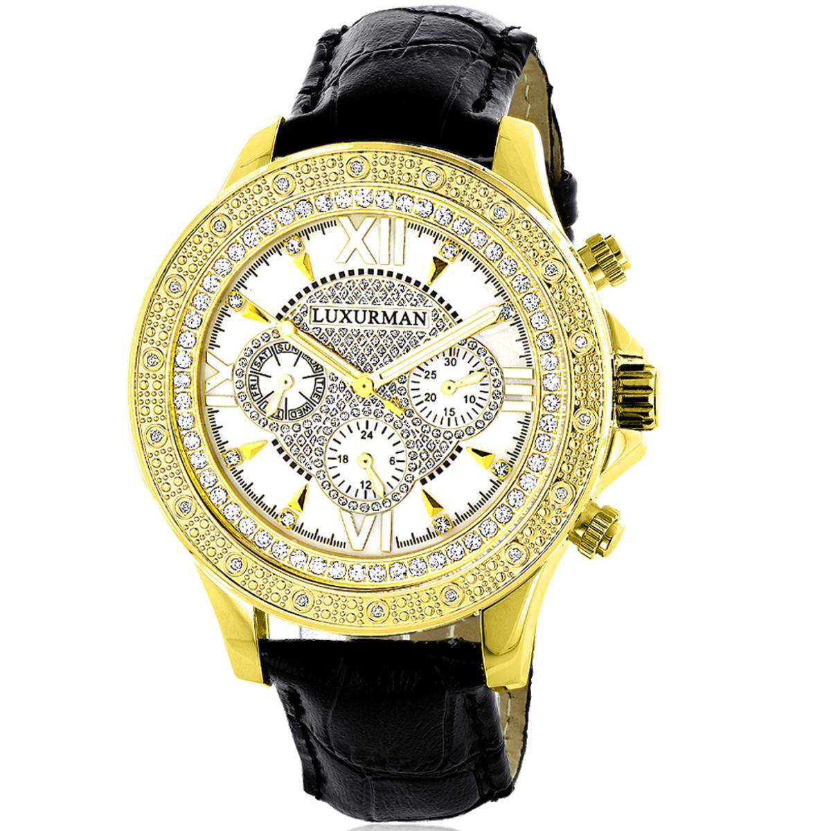 Luxurman Watches: Mens Diamond Watch 0.18ct