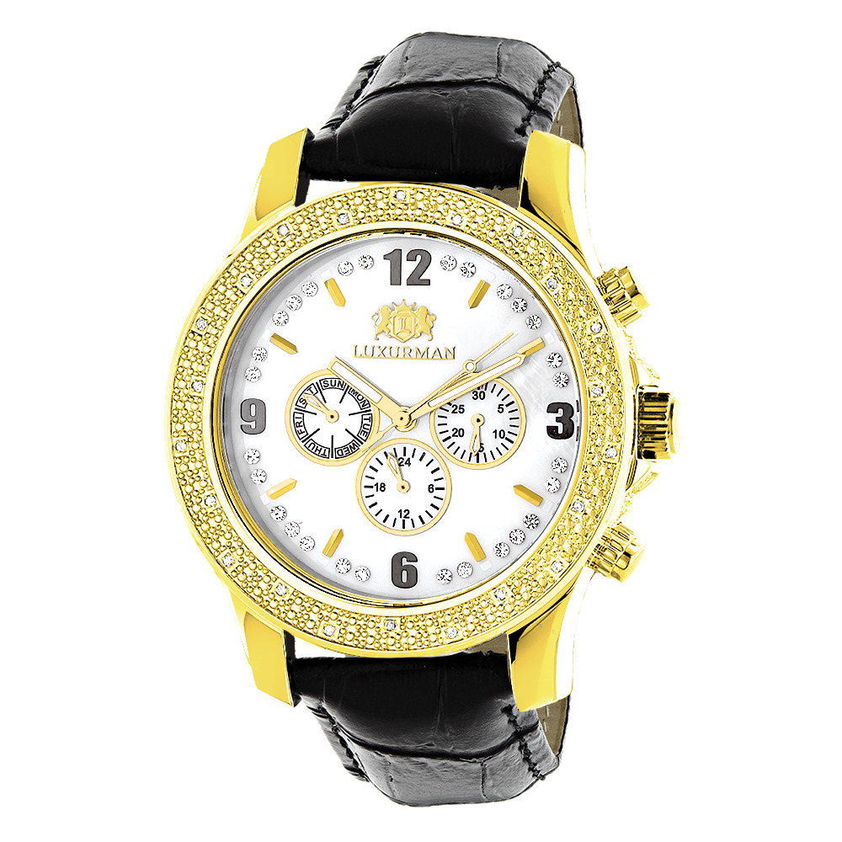 Luxurman Watches Mens Diamond Watch 0.25ct Yellow