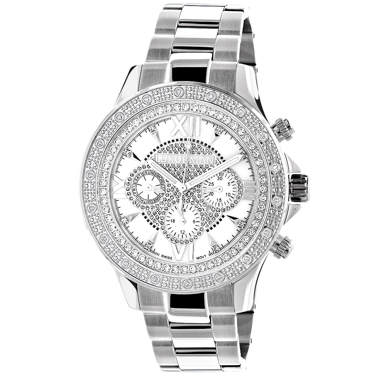Luxurman Watches: Mens Diamond Watch 0.2ct White MOP