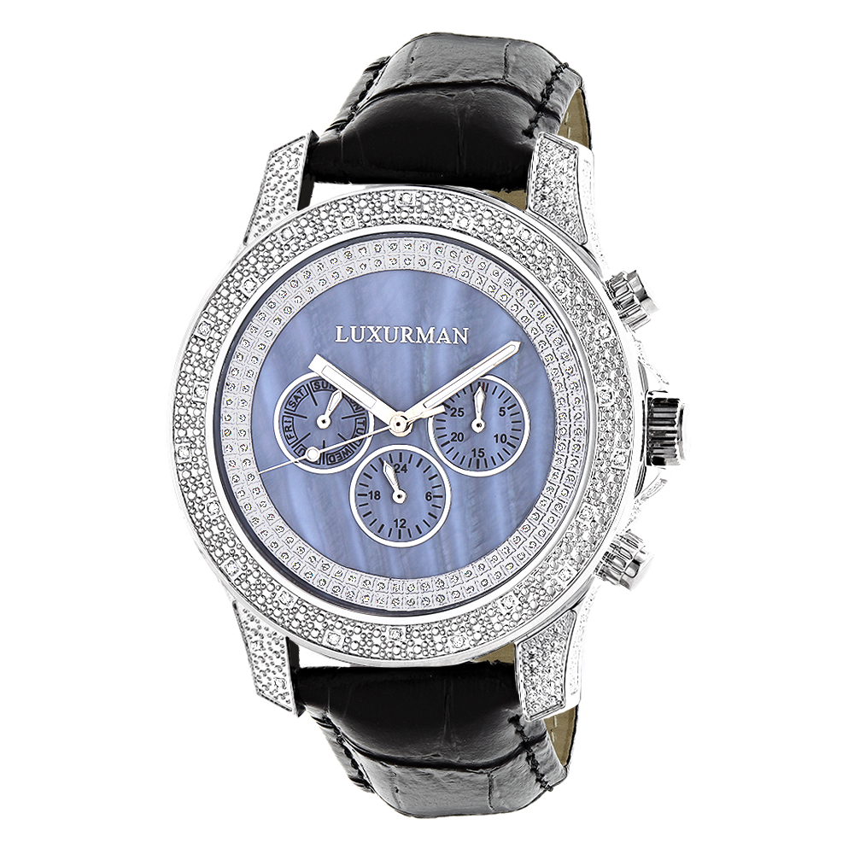 Luxurman Watches Mens Diamond Watch 0.50ct Blue Freeze
