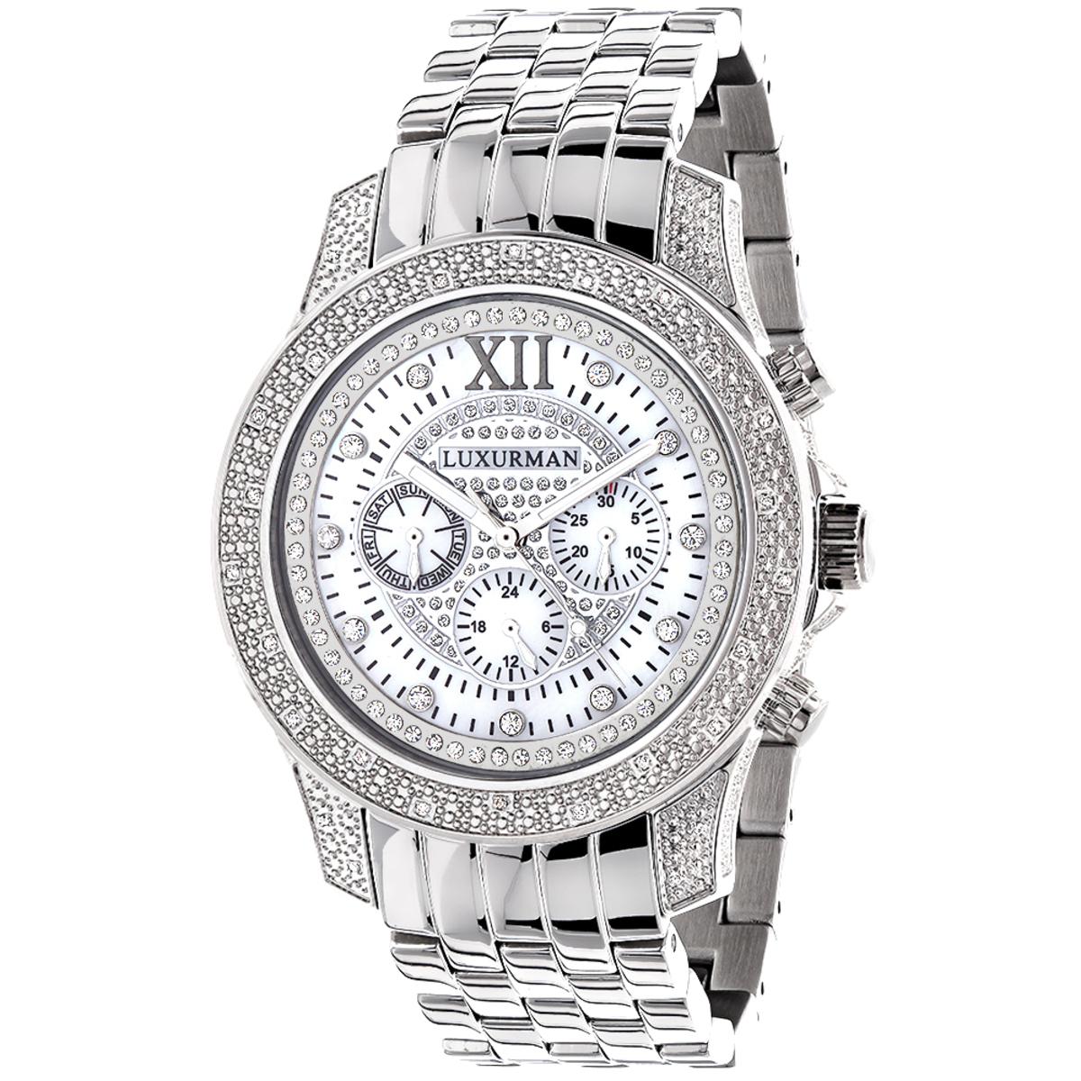 Luxurman Watches: Mens Diamond Watch 0.50ct
