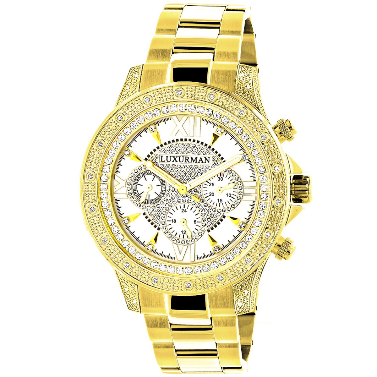 Luxurman Watches: Mens Diamond Watch 0.5ct Yellow Gold Plated