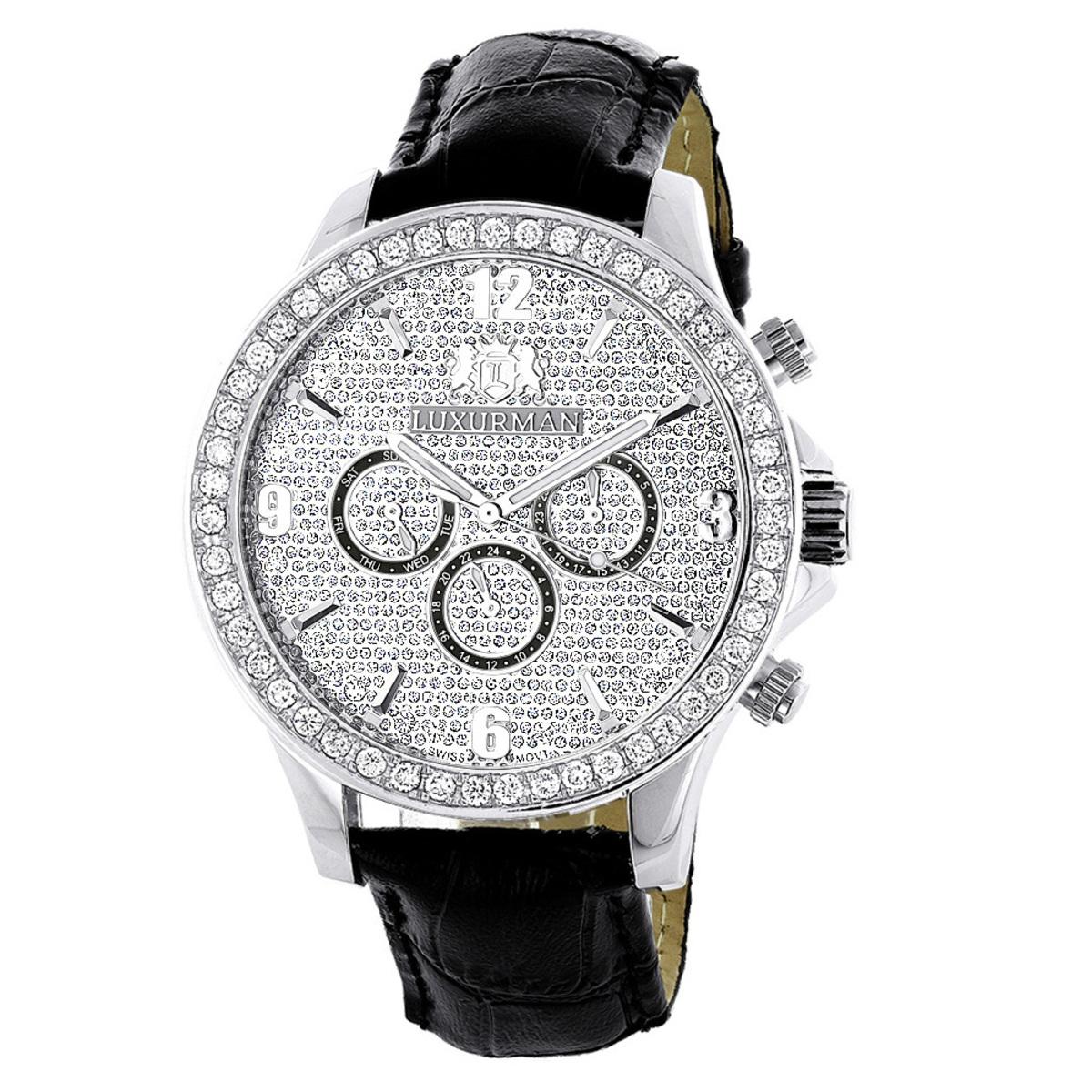 Luxurman Watches: Mens Diamond Watch 3ct