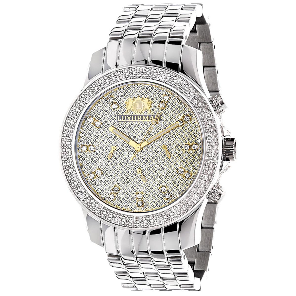 Luxurman Watches Mens Diamond Wristwatch 0.25ct