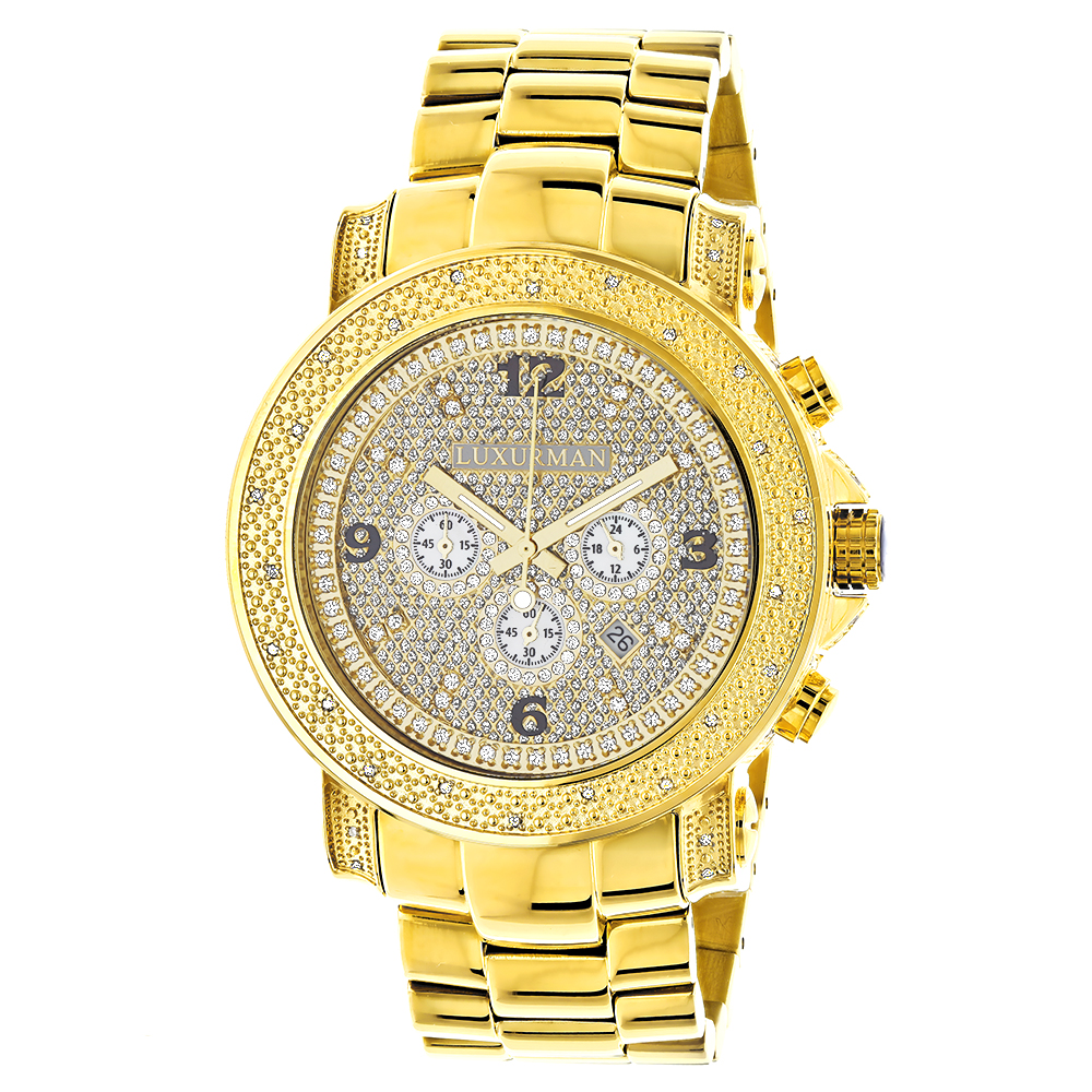 Luxurman Watches Mens Oversized Diamond Watch 0.75ct Yellow Gold