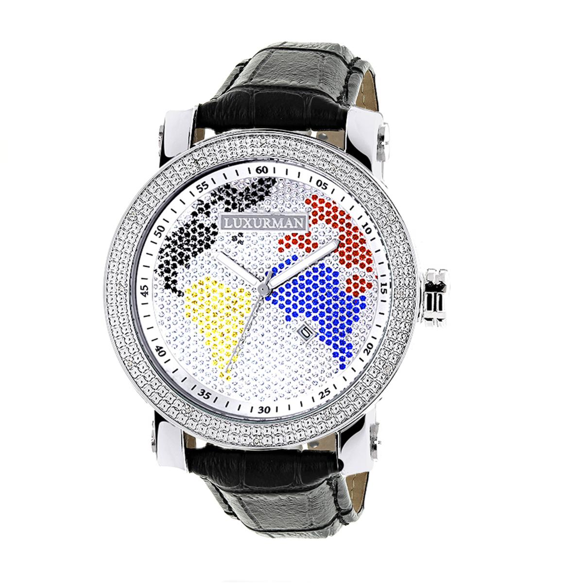 Luxurman Watches Worldface Mens Diamond Watch 0.18ct