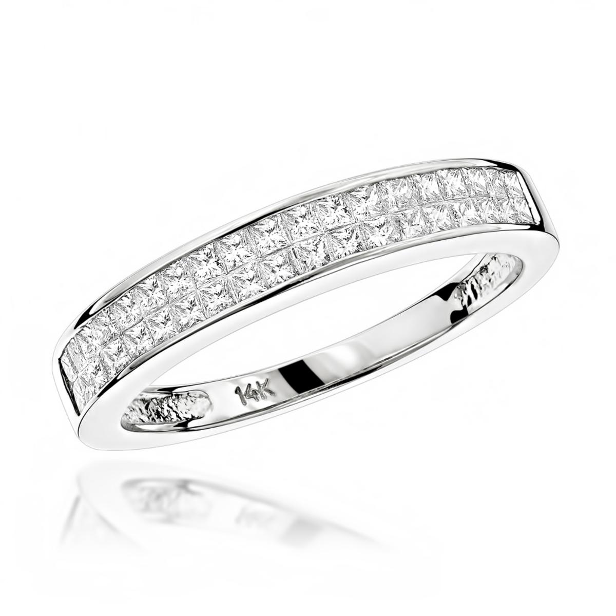 Luxurman Wedding Rings 1 Carat Princess Cut Diamond Wedding Band