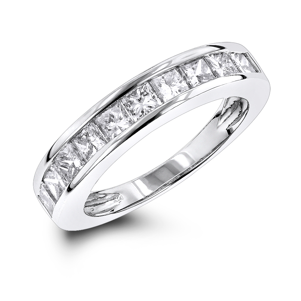 Luxurman Wedding Rings 1 Row Princess Cut Diamond Band 16ct GVS