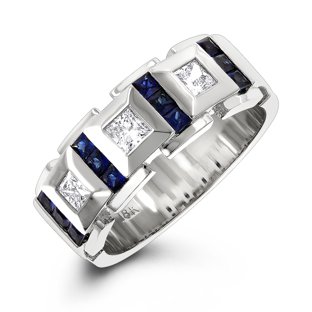 Luxurman Wedding Rings: 18k Gold Unique Diamond And Sapphires Band ...