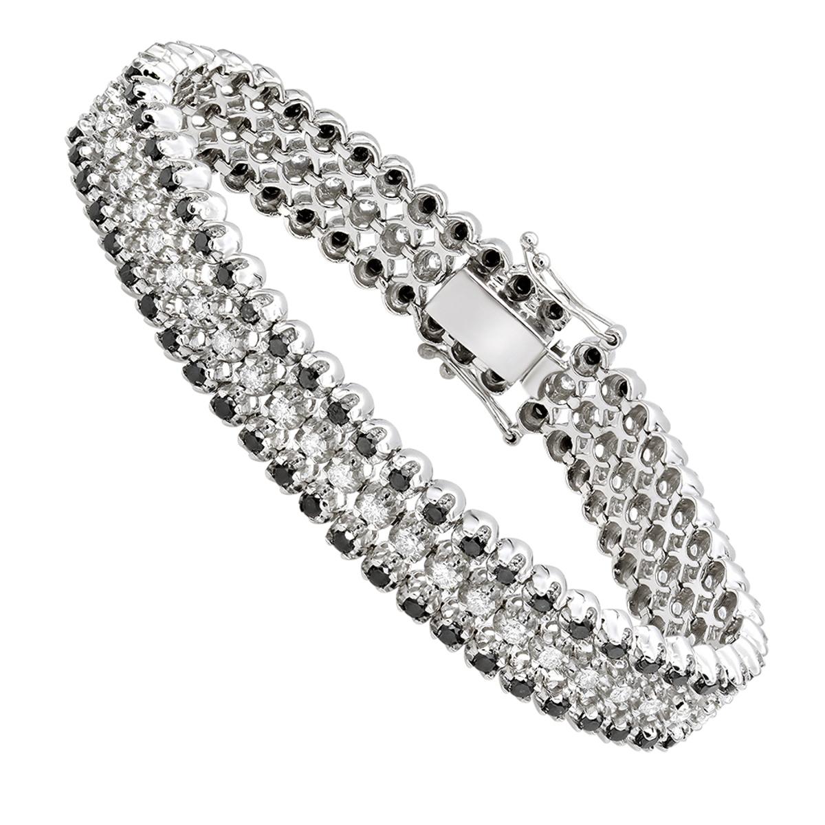 Luxurman White and Black Diamond Tennis Bracelet For Men in 14k Gold 8.5ct