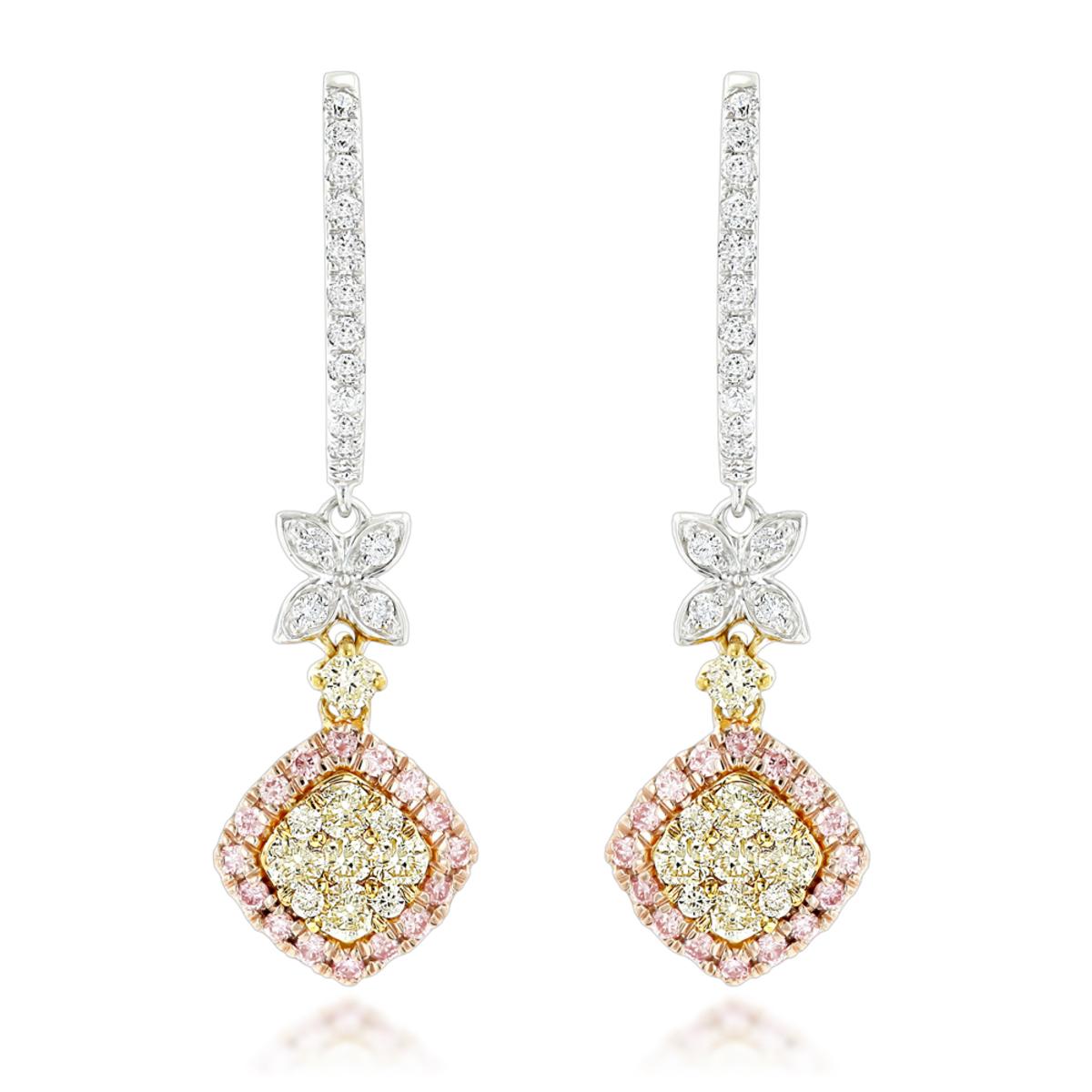 Luxurman White Yellow Pink Diamond Drop Earrings for Women 1.4ct 14K Gold