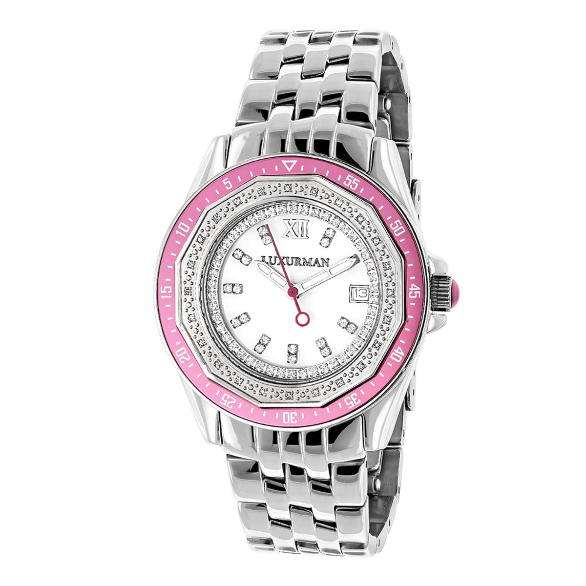 Luxurman Womens Diamond Pink Watch 0.25ct
