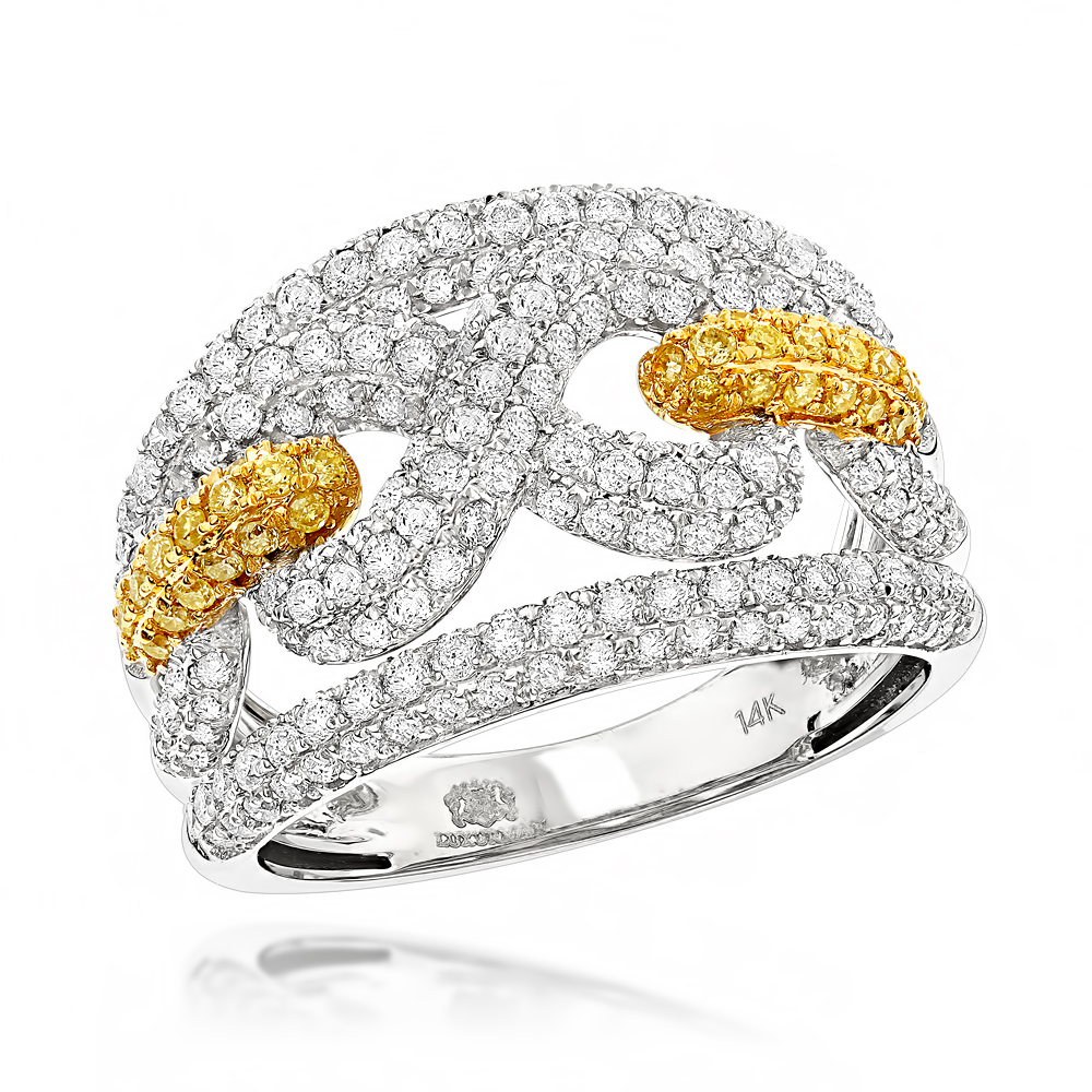 Luxurman Womens White & Yellow Diamonds Infinity Cocktail Ring 14K Gold 2ct