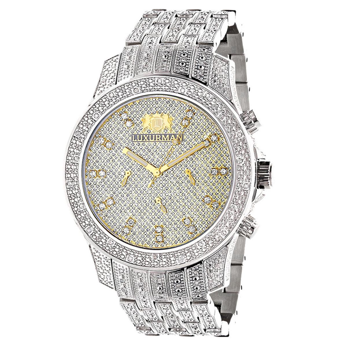 Luxurman Wrist Watches Mens Diamond Watch 1.25ct